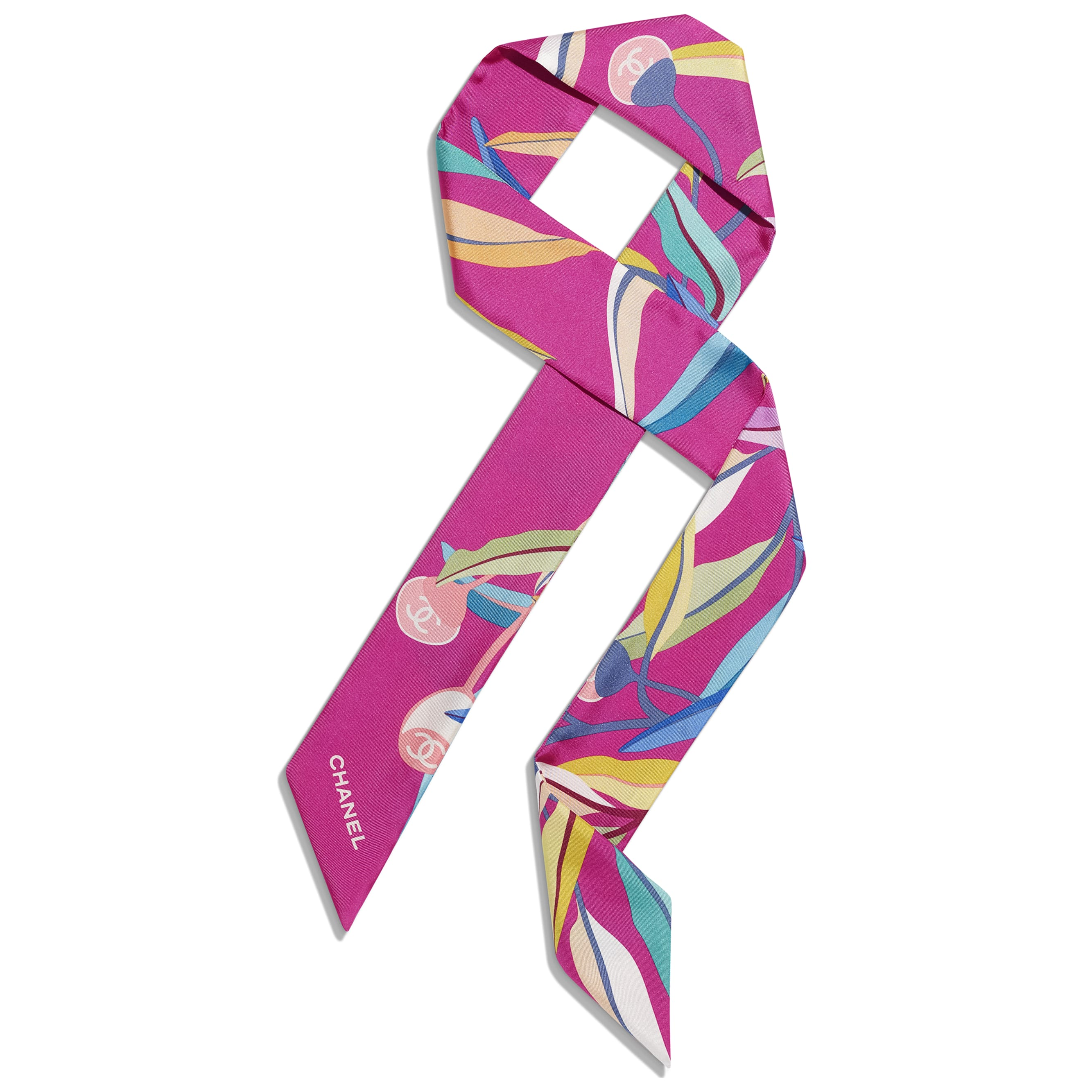 Accessoire zur Verwendung als Haarband, Gürtel oder Lavallière - Fuchsia - Seidentwill - Standardansicht - Standardgröße anzeigen