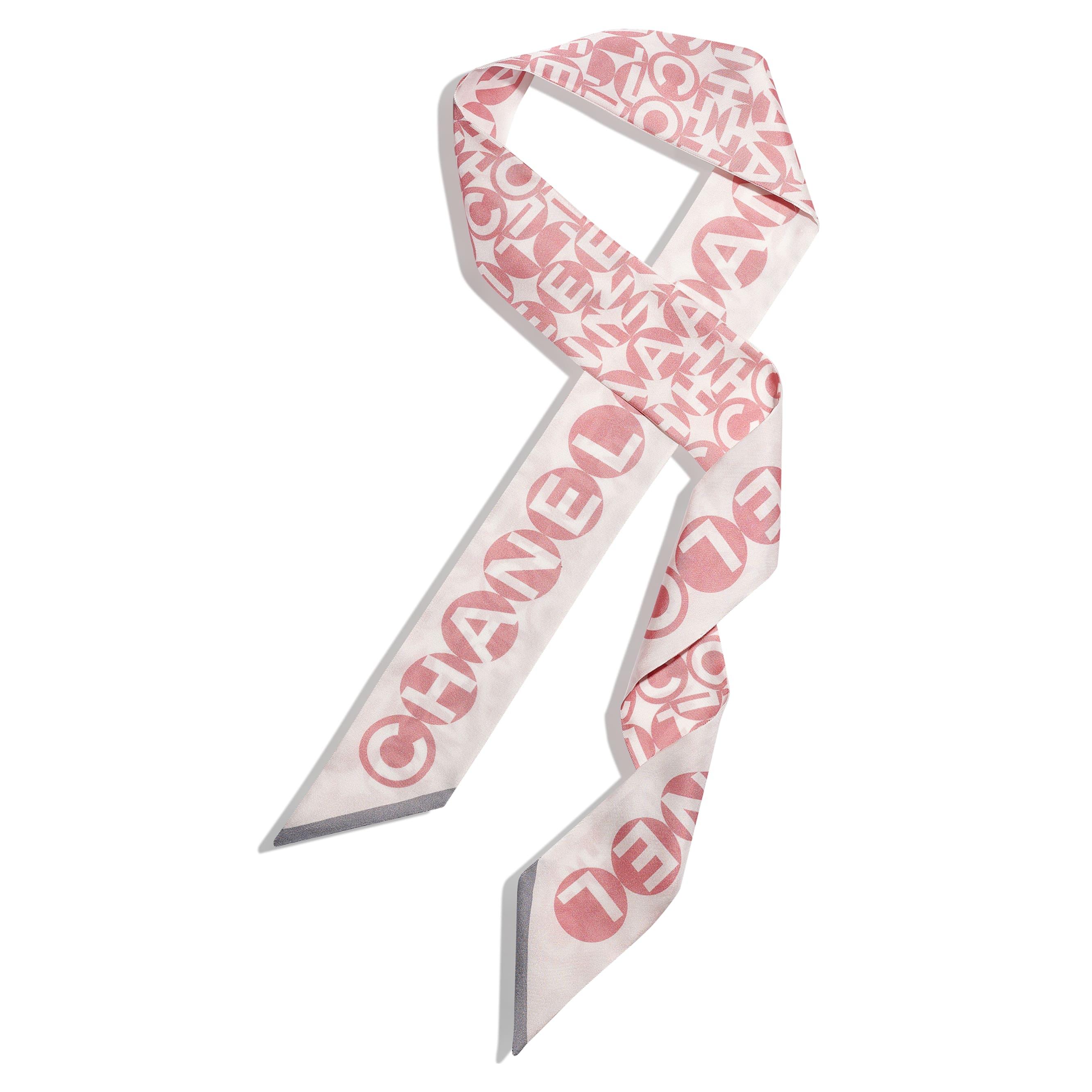 Бандо - Розовый и серый - Шелковый твид - CHANEL - Вид по умолчанию - посмотреть изображение стандартного размера