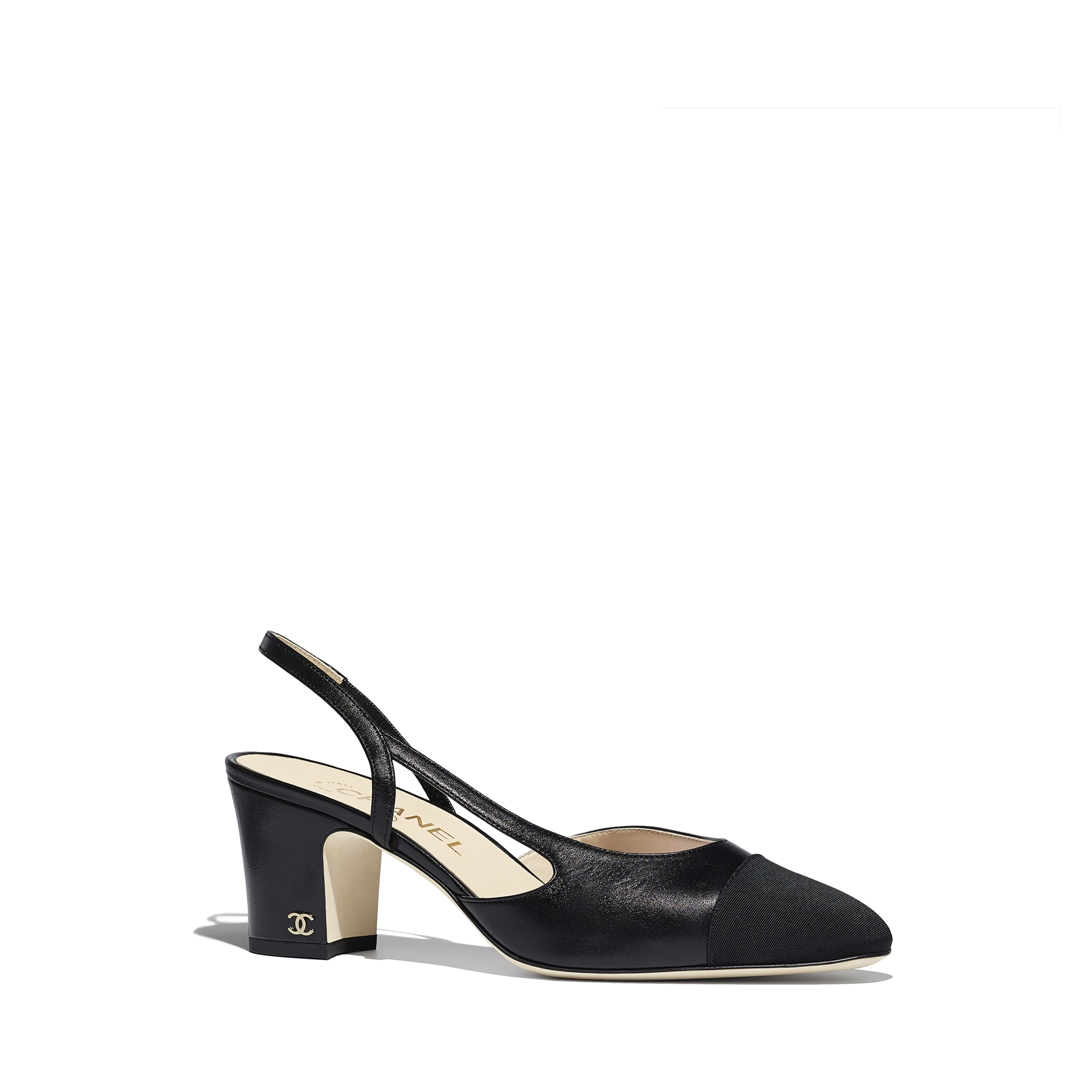 Slingbacks - Black - Goatskin & Grosgrain - Alternative view - see standard sized version