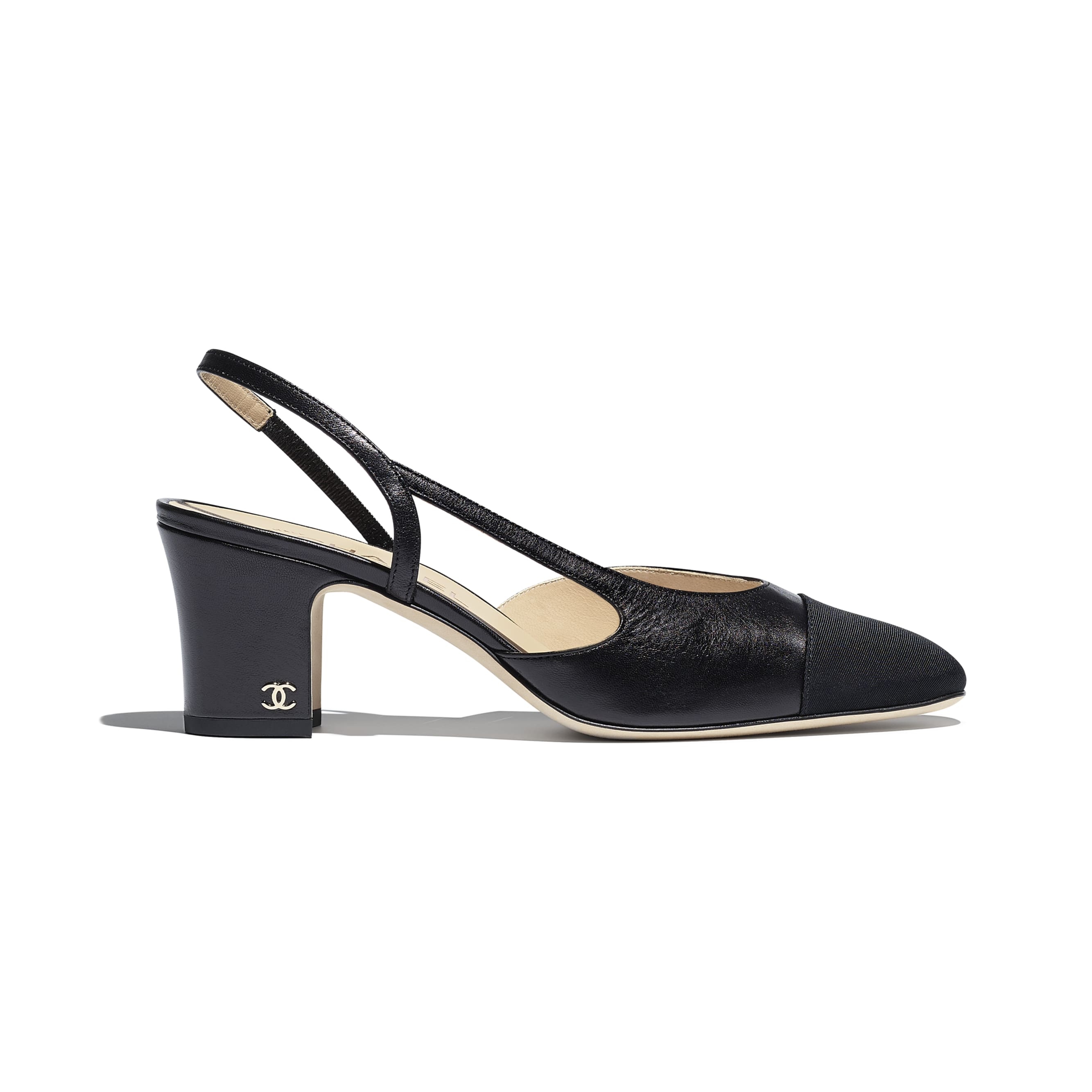Slingbacks - Black - Goatskin & Grosgrain - Default view - see standard sized version