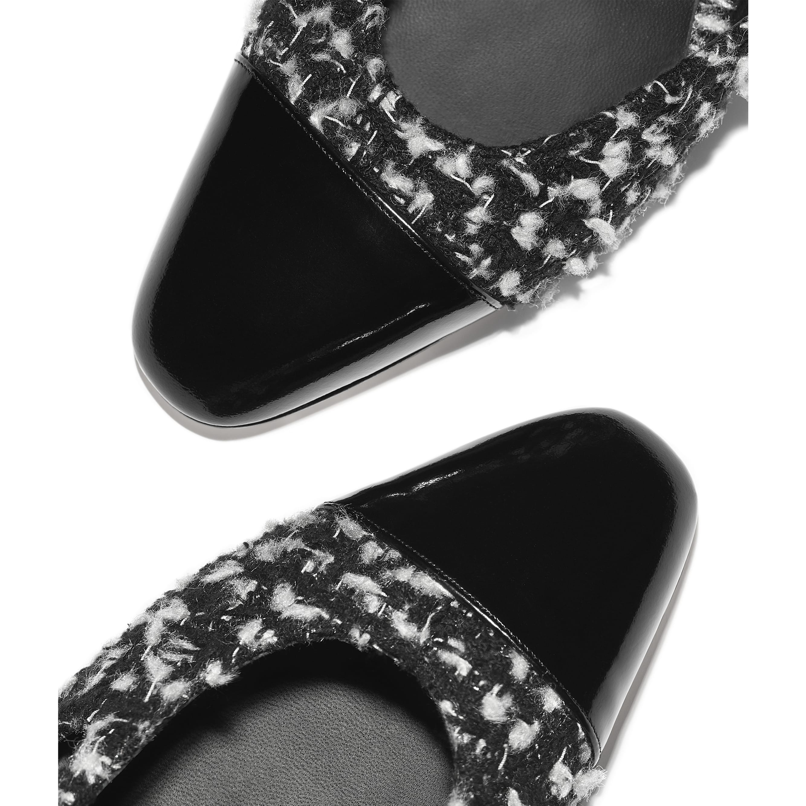 Slingbacks - Black & White - Tweed & Calfskin - CHANEL - Extra view - see standard sized version
