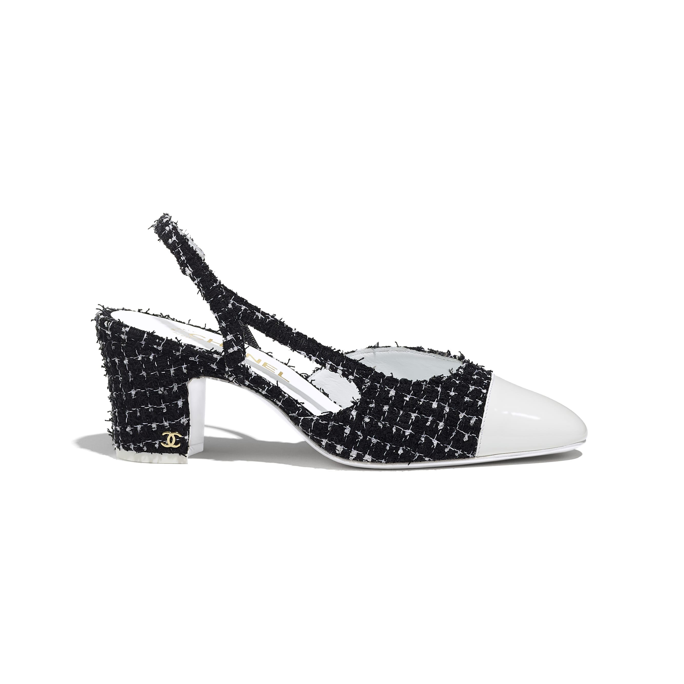 Sling-Back - Black & White - Tweed & Patent Calfskin - CHANEL - Default view - see standard sized version