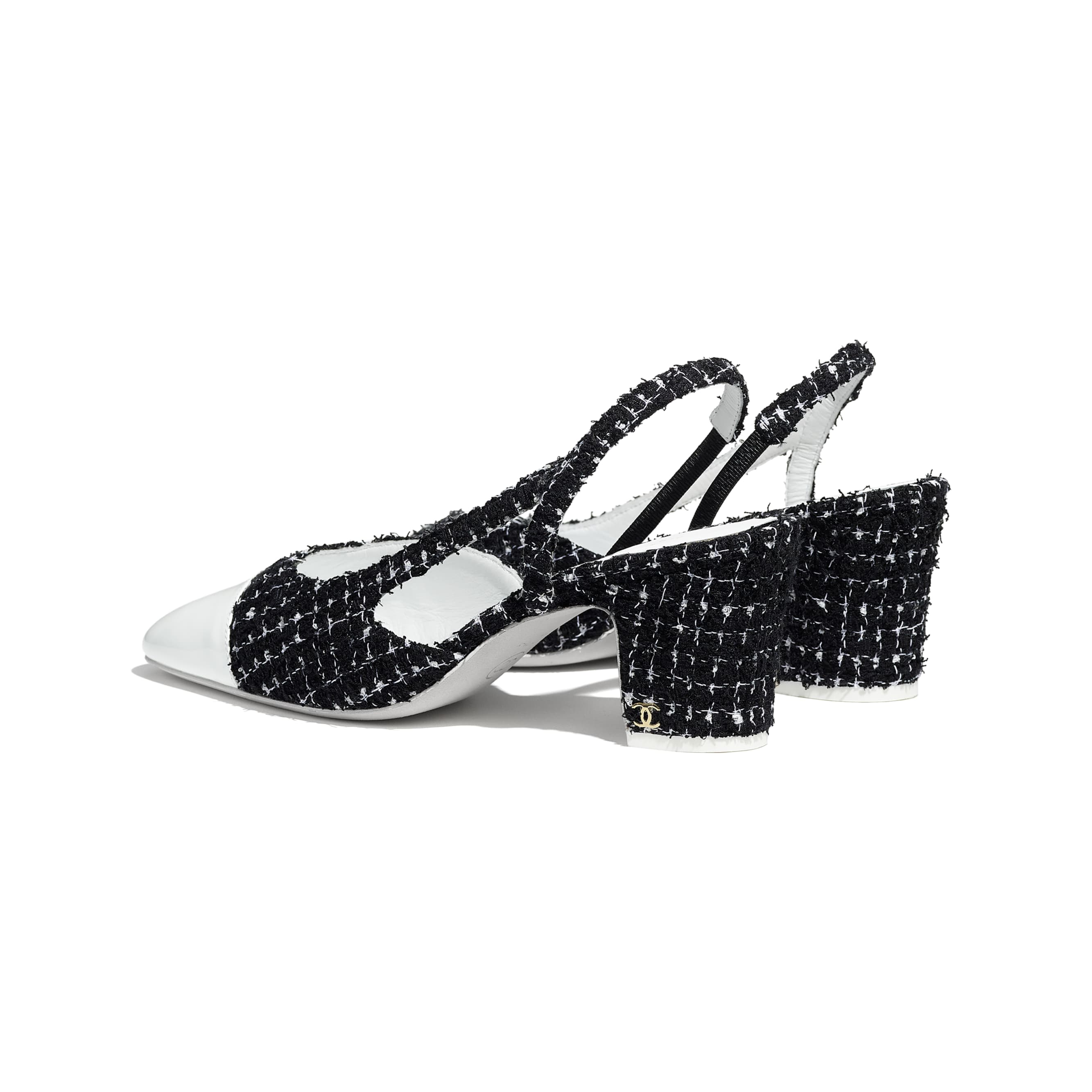 Sling-Back - Black & White - Tweed & Patent Calfskin - CHANEL - Other view - see standard sized version