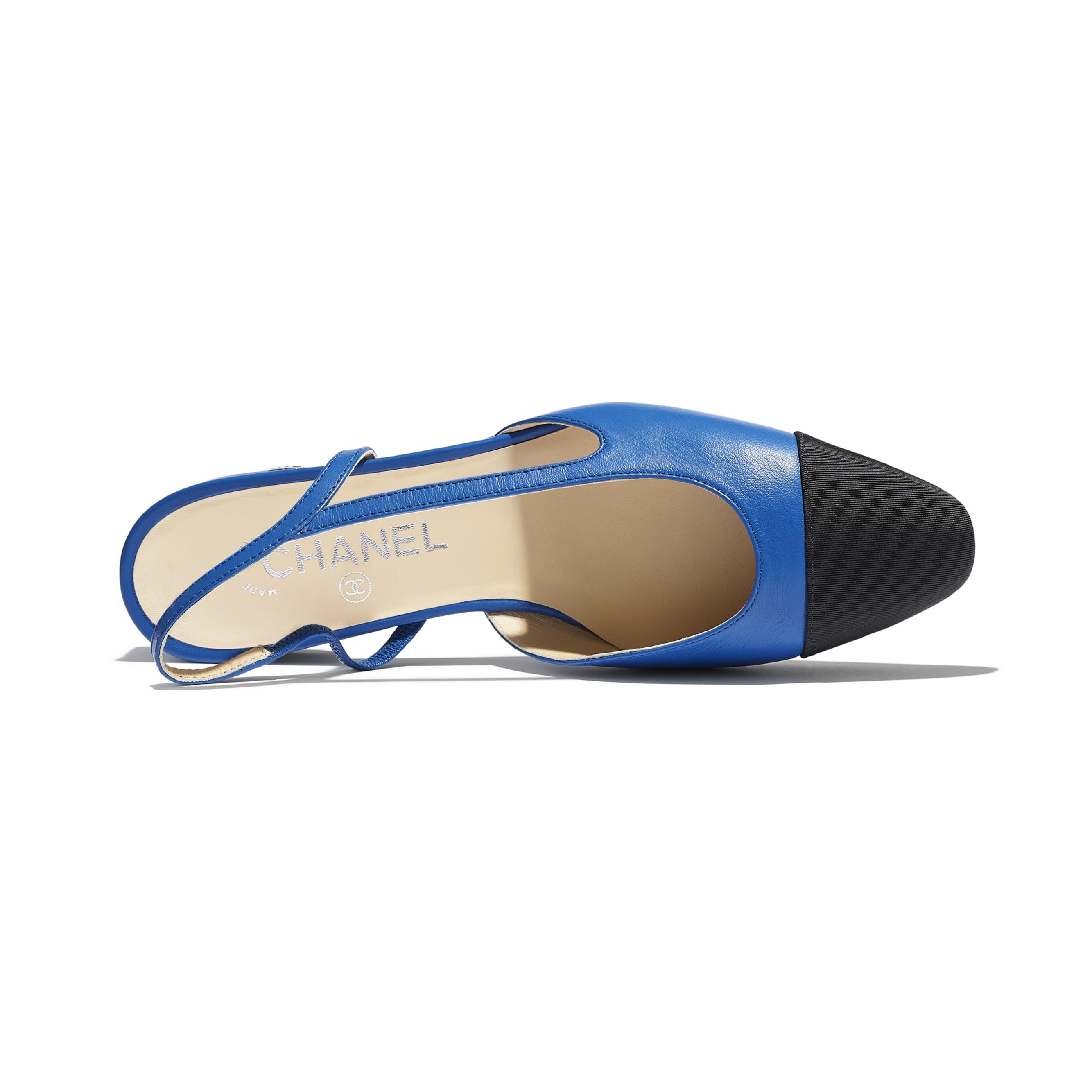 Slingbacks - Blue & Black - Lambskin & Grosgrain - CHANEL - Extra view - see standard sized version