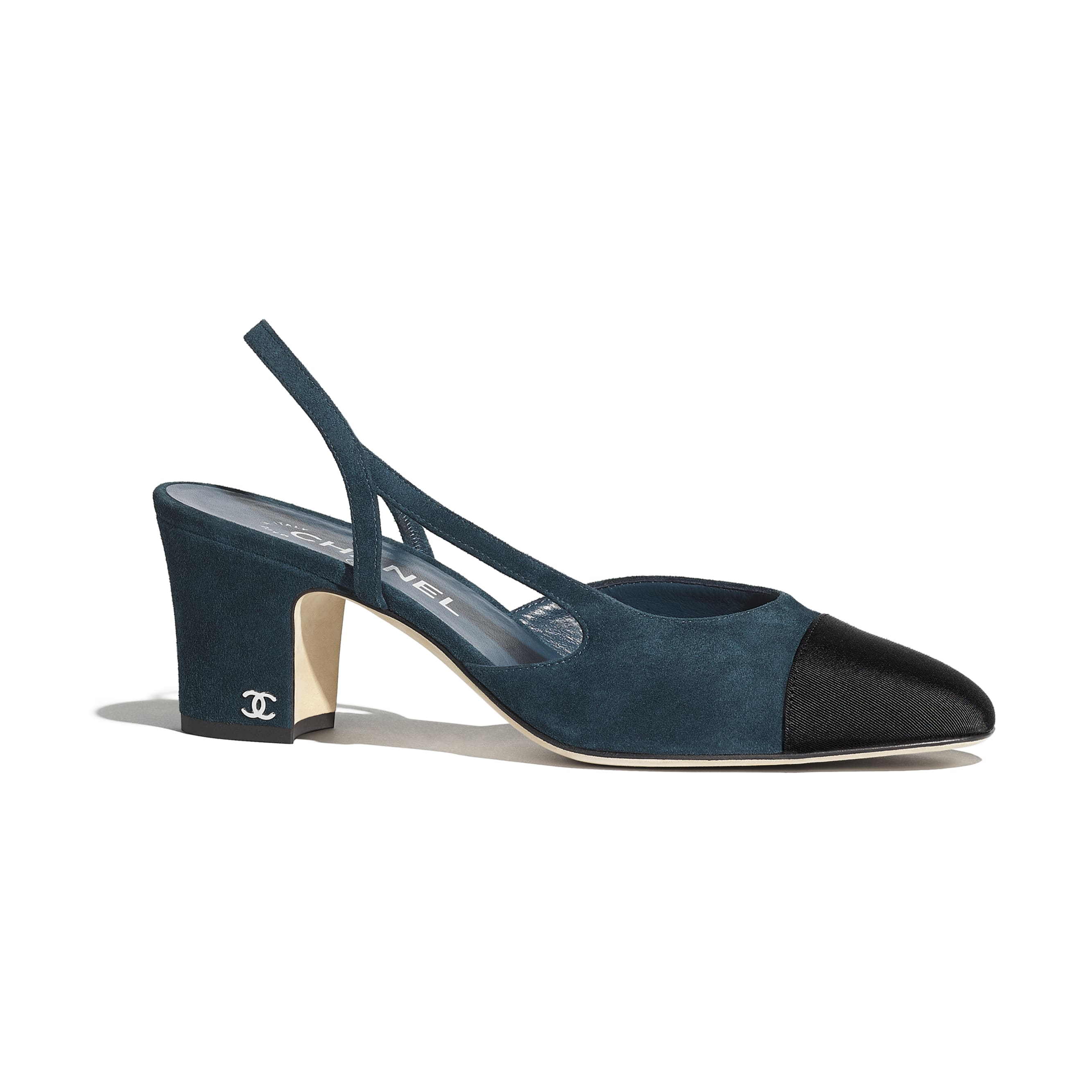Sling-Back - Blue & Black - Suede Calfskin & Grosgrain - Default view - see standard sized version