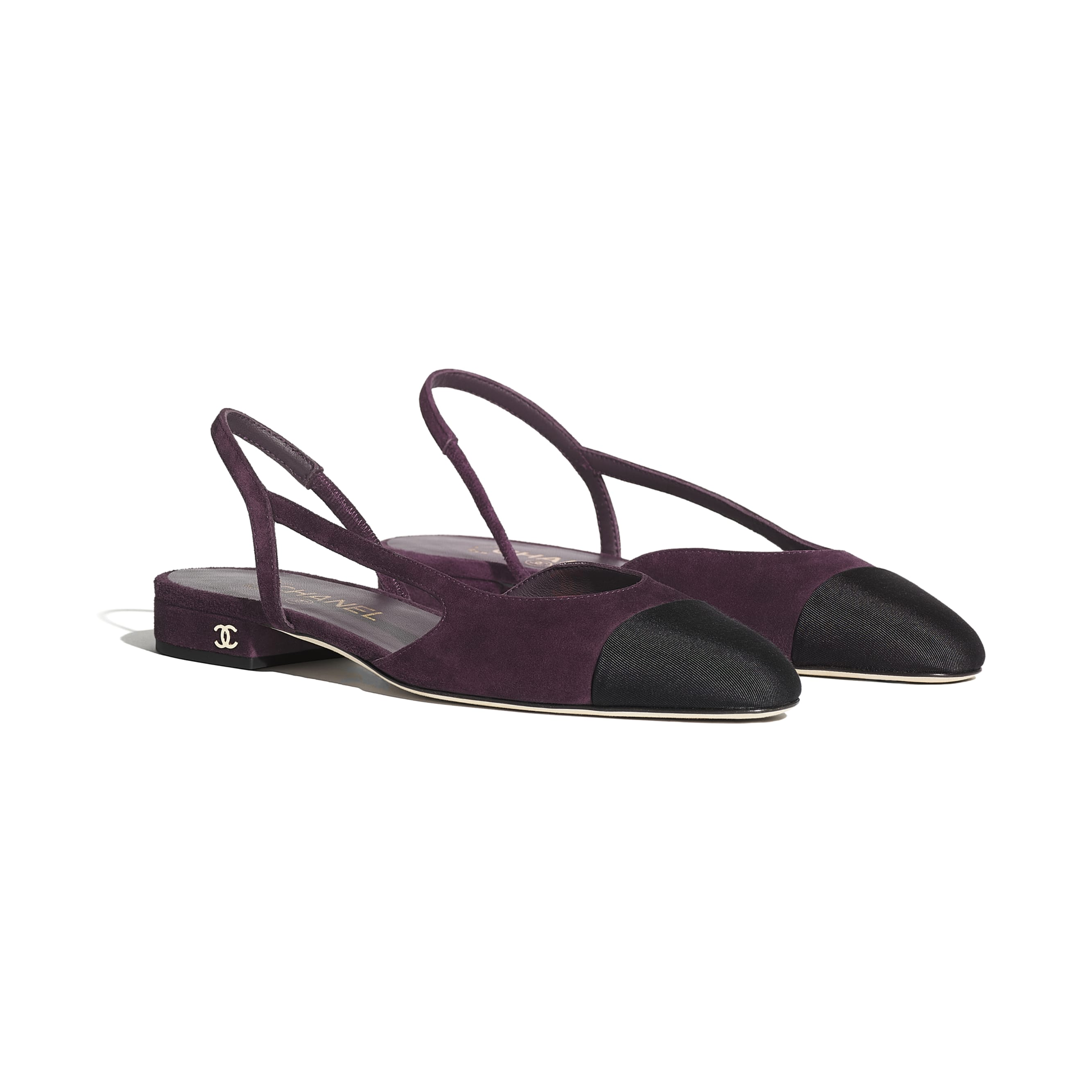 Sling-Back - Burgundy & Black - Suede Calfskin & Grosgrain - Alternative view - see standard sized version