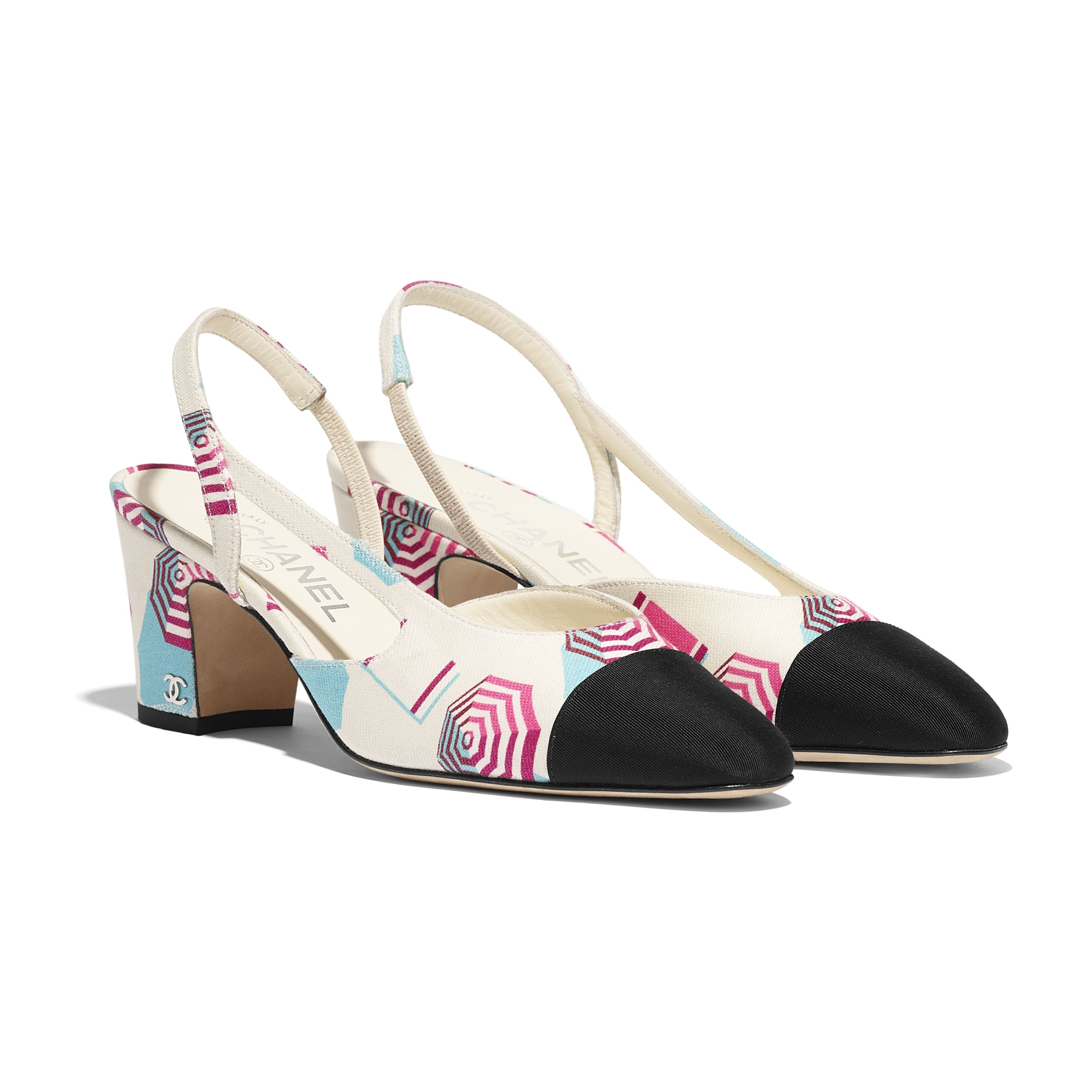 Slingbacks - Ecru, Blue, Pink & Black - Fabric - Alternative view - see standard sized version