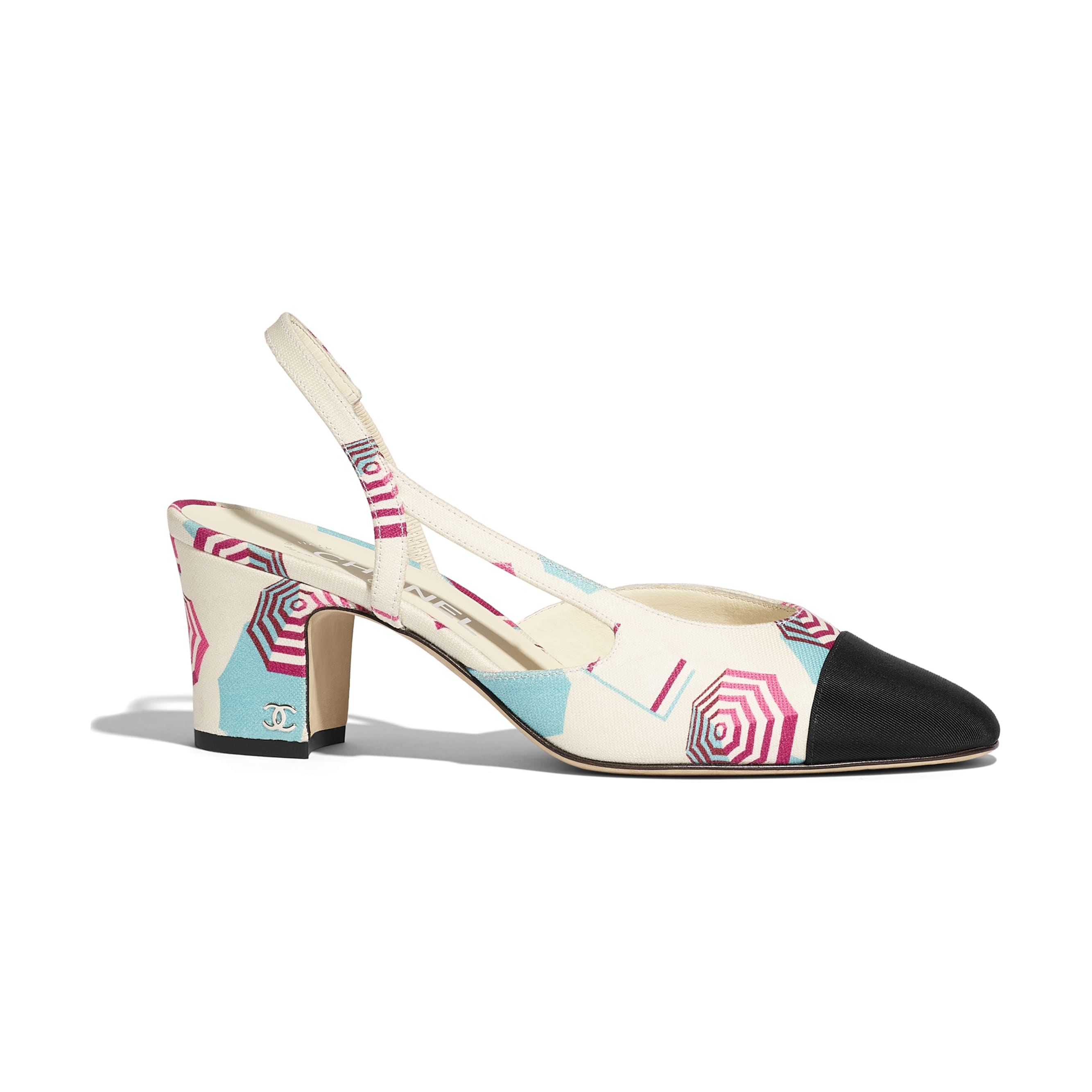 Slingbacks - Ecru, Blue, Pink & Black - Fabric - Default view - see standard sized version