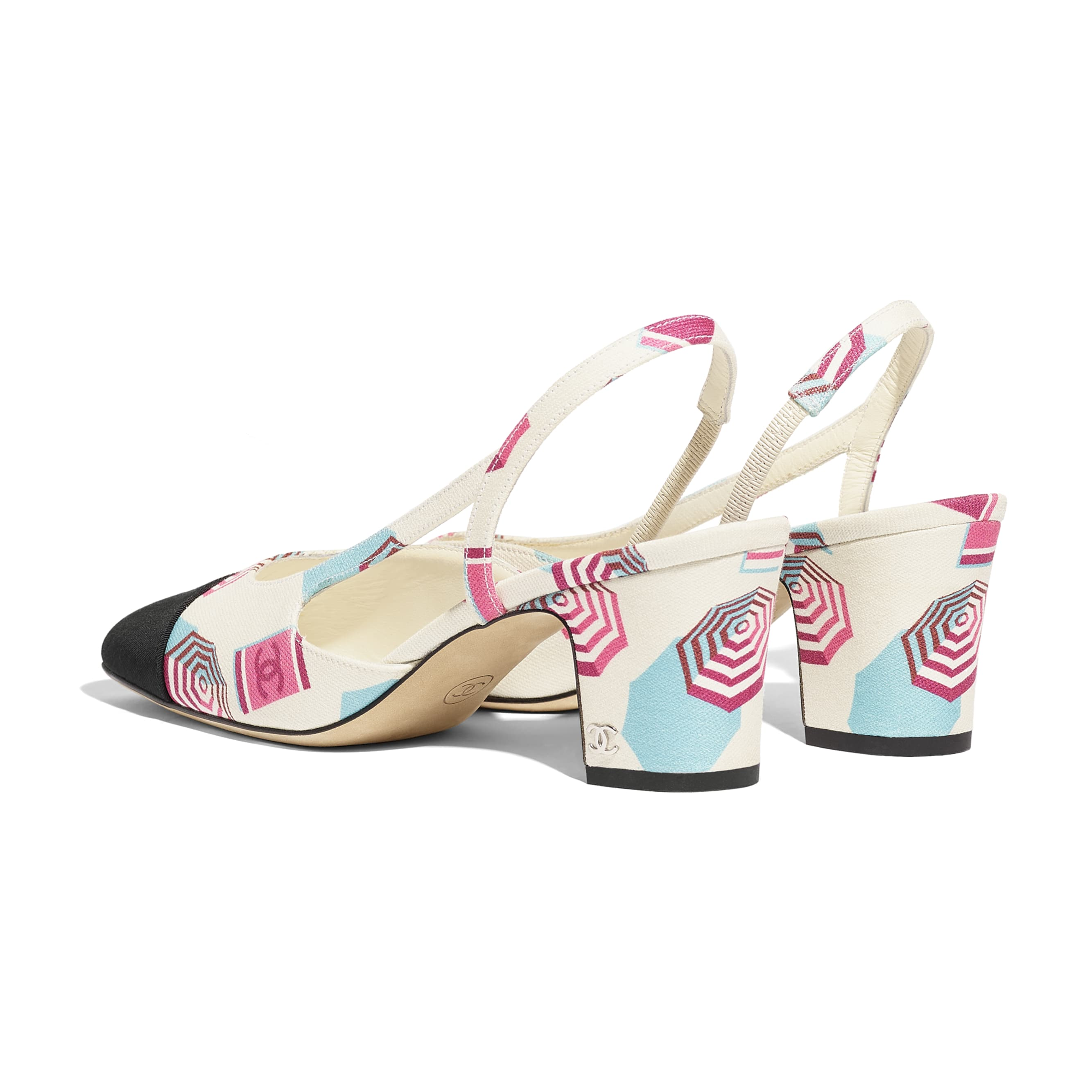 Slingbacks - Ecru, Blue, Pink & Black - Fabric - Other view - see standard sized version
