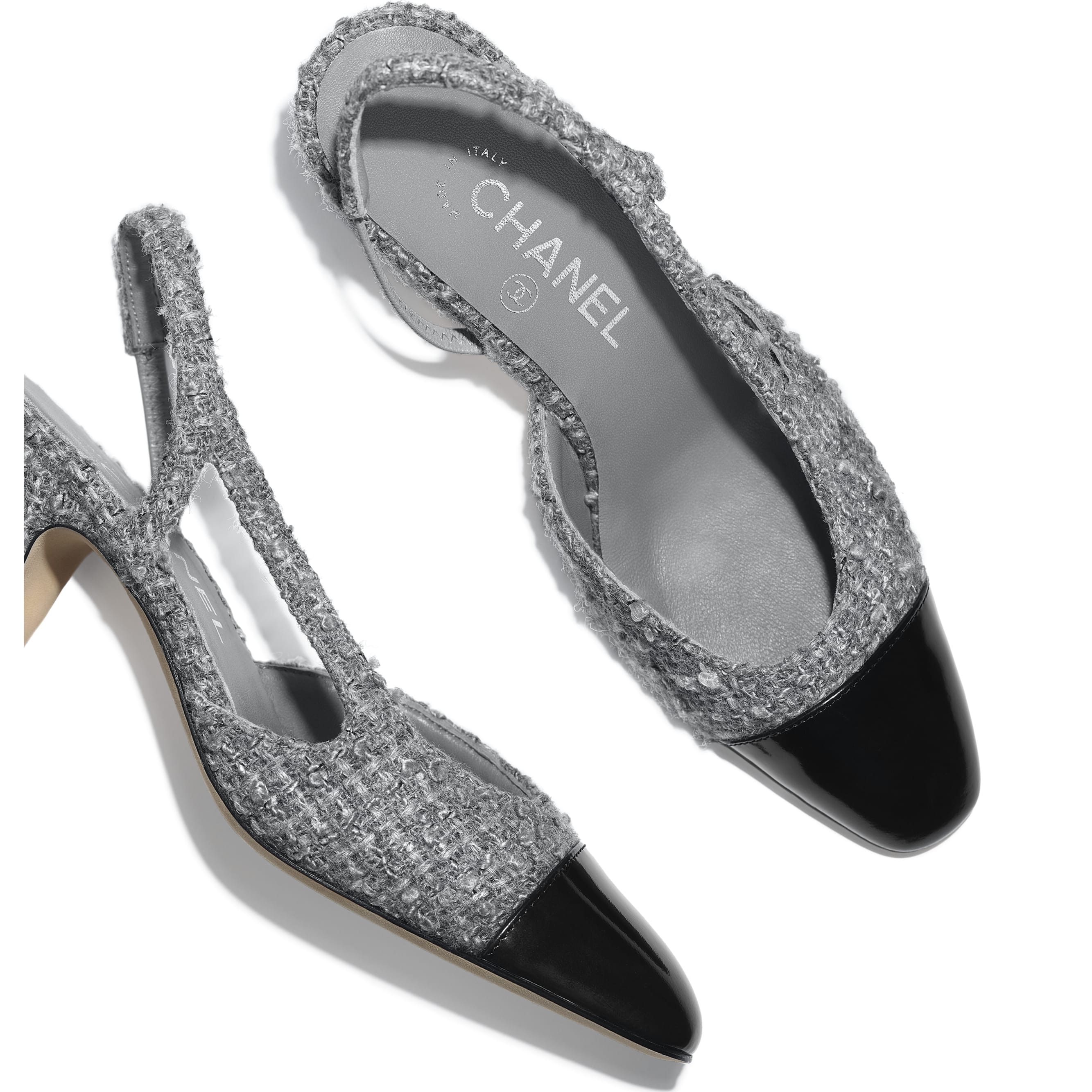 Sling-Back - Grey & Black - Tweed & Calfskin - CHANEL - Extra view - see standard sized version