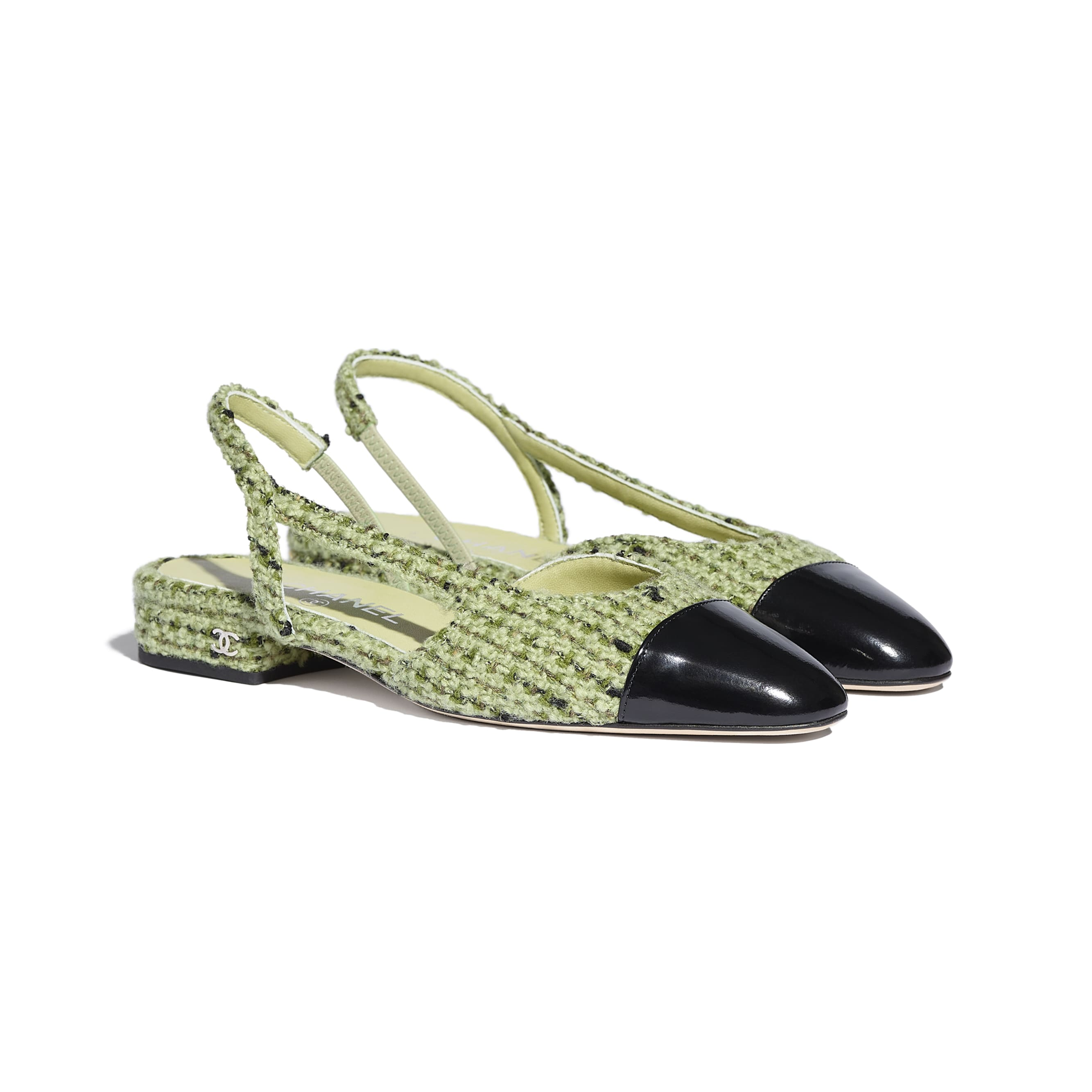 Sling-Back - Green & Black - Tweed & Calfskin - CHANEL - Alternative view - see standard sized version