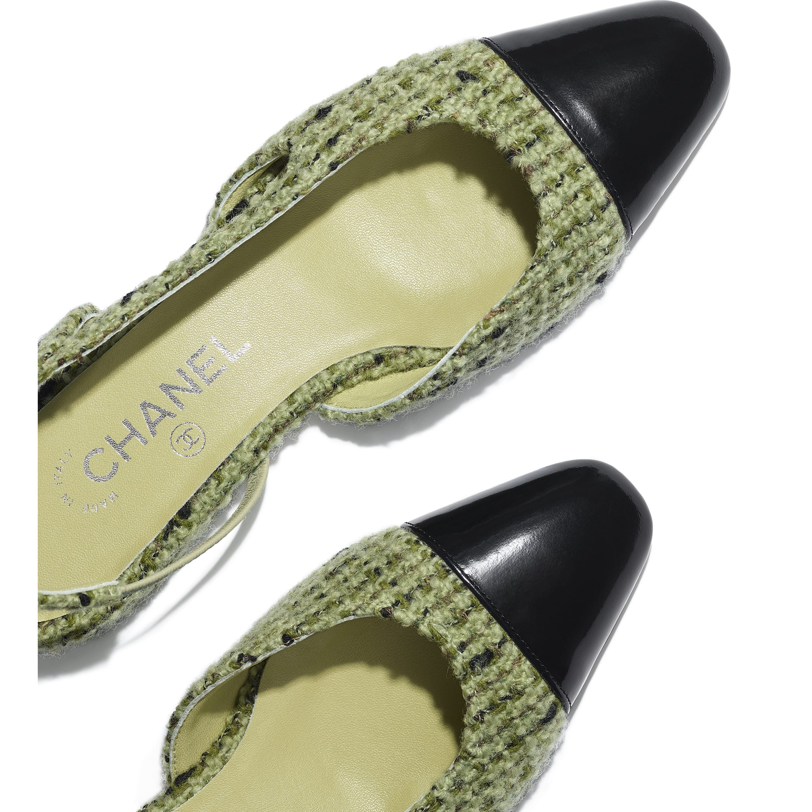 Sling-Back - Green & Black - Tweed & Calfskin - CHANEL - Extra view - see standard sized version