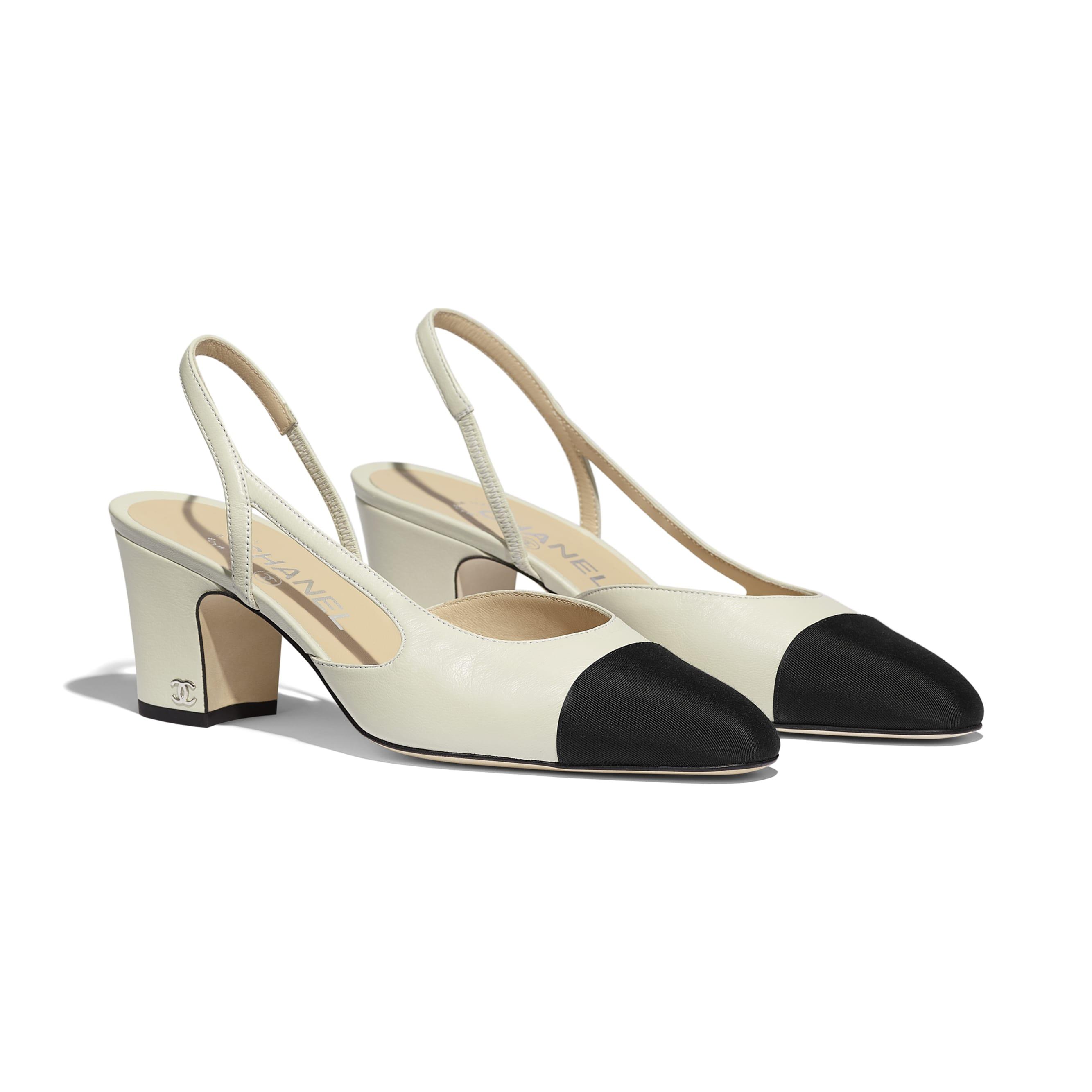 Туфли-лодочки - Цвет слоновой кости и черный - Кожа ягненка и шелковая ткань - Альтернативный вид - посмотреть изображение стандартного размера