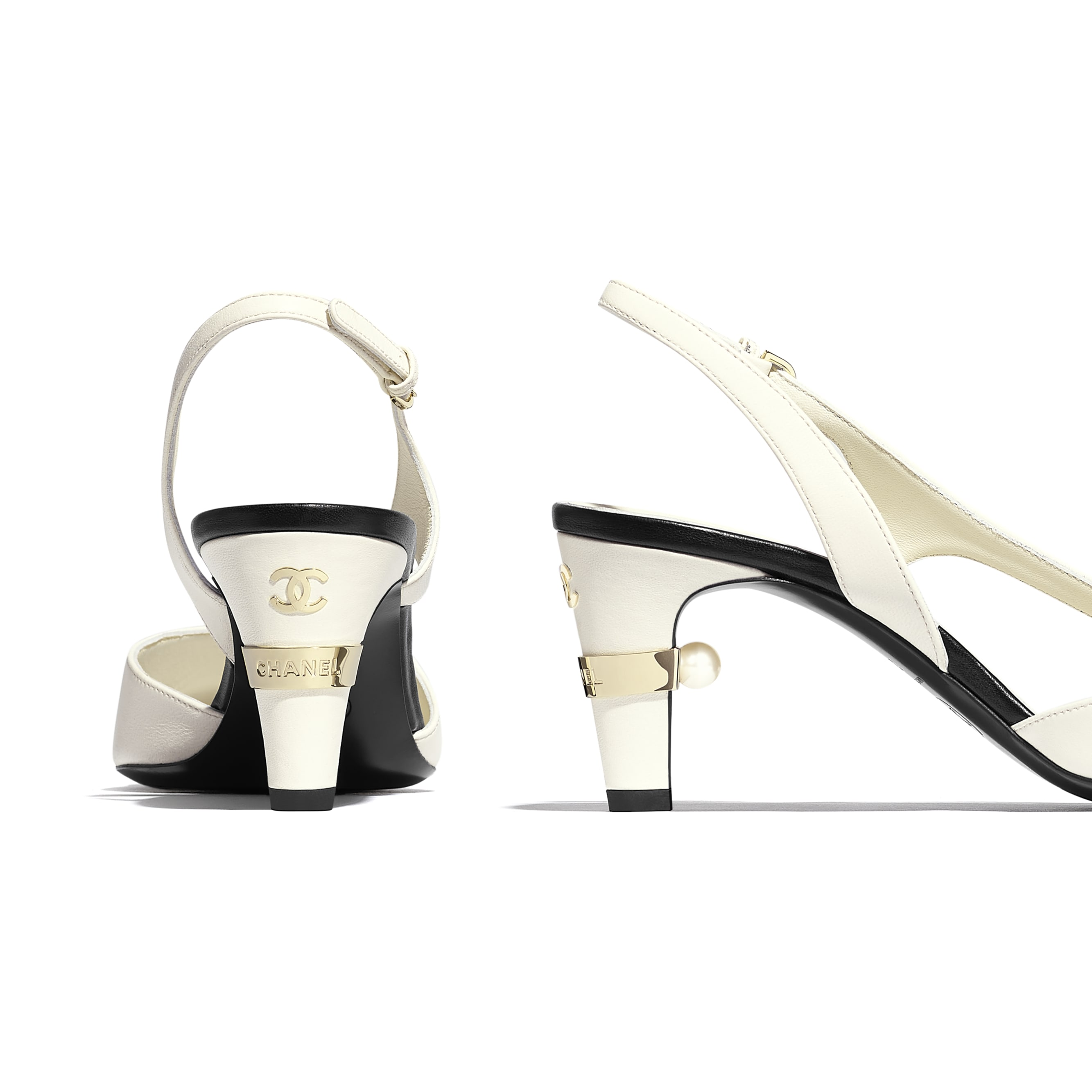 Sling-Back - Ivory & Black - Lambskin - Extra view - see standard sized version