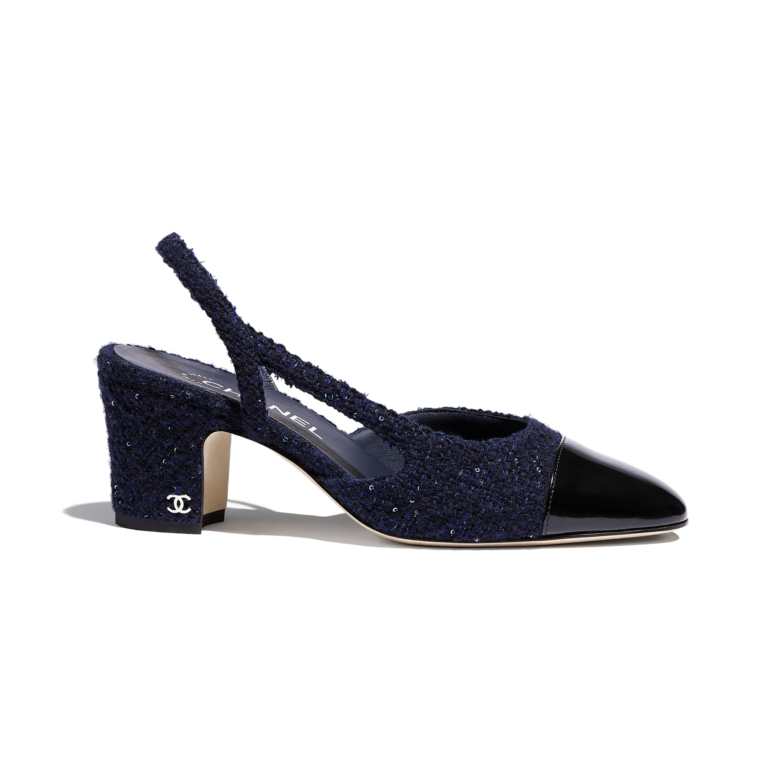 Sling-Back - Navy Blue & Black - Tweed & Calfskin - CHANEL - Default view - see standard sized version
