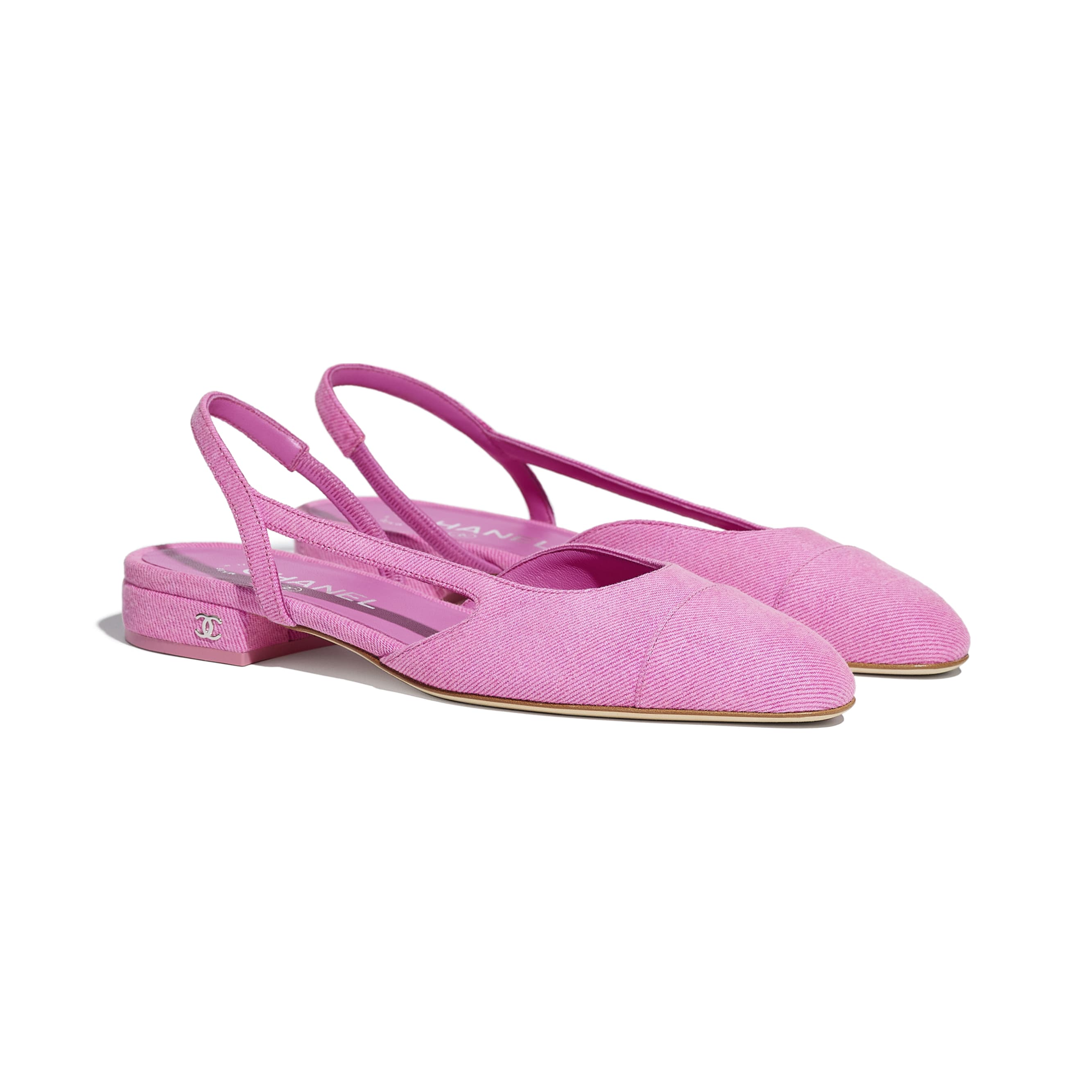Sling-Back - Neon Pink - Denim - CHANEL - Alternative view - see standard sized version