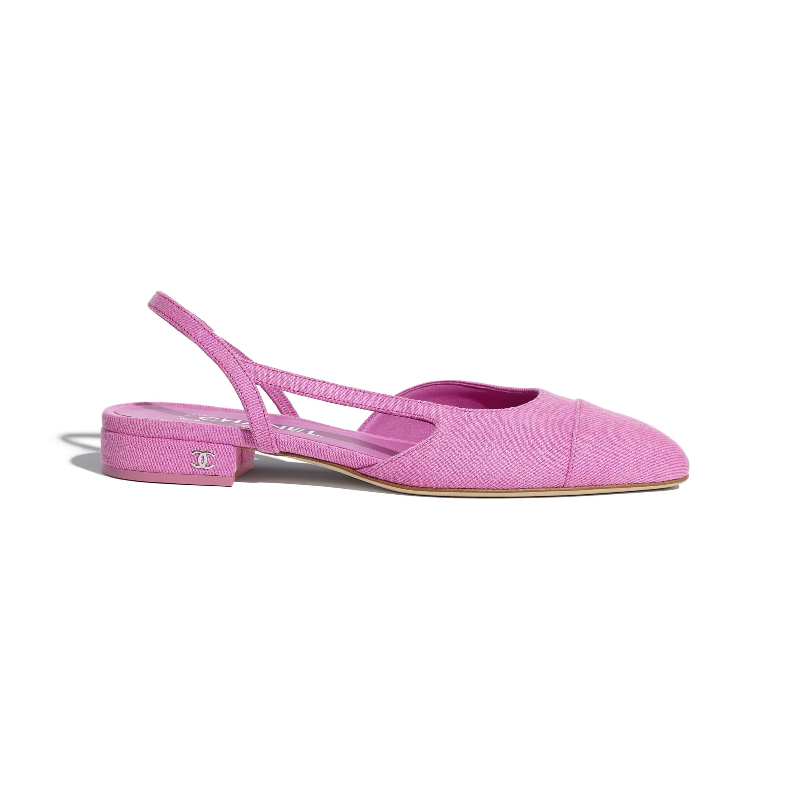 Sling-Back - Neon Pink - Denim - CHANEL - Default view - see standard sized version