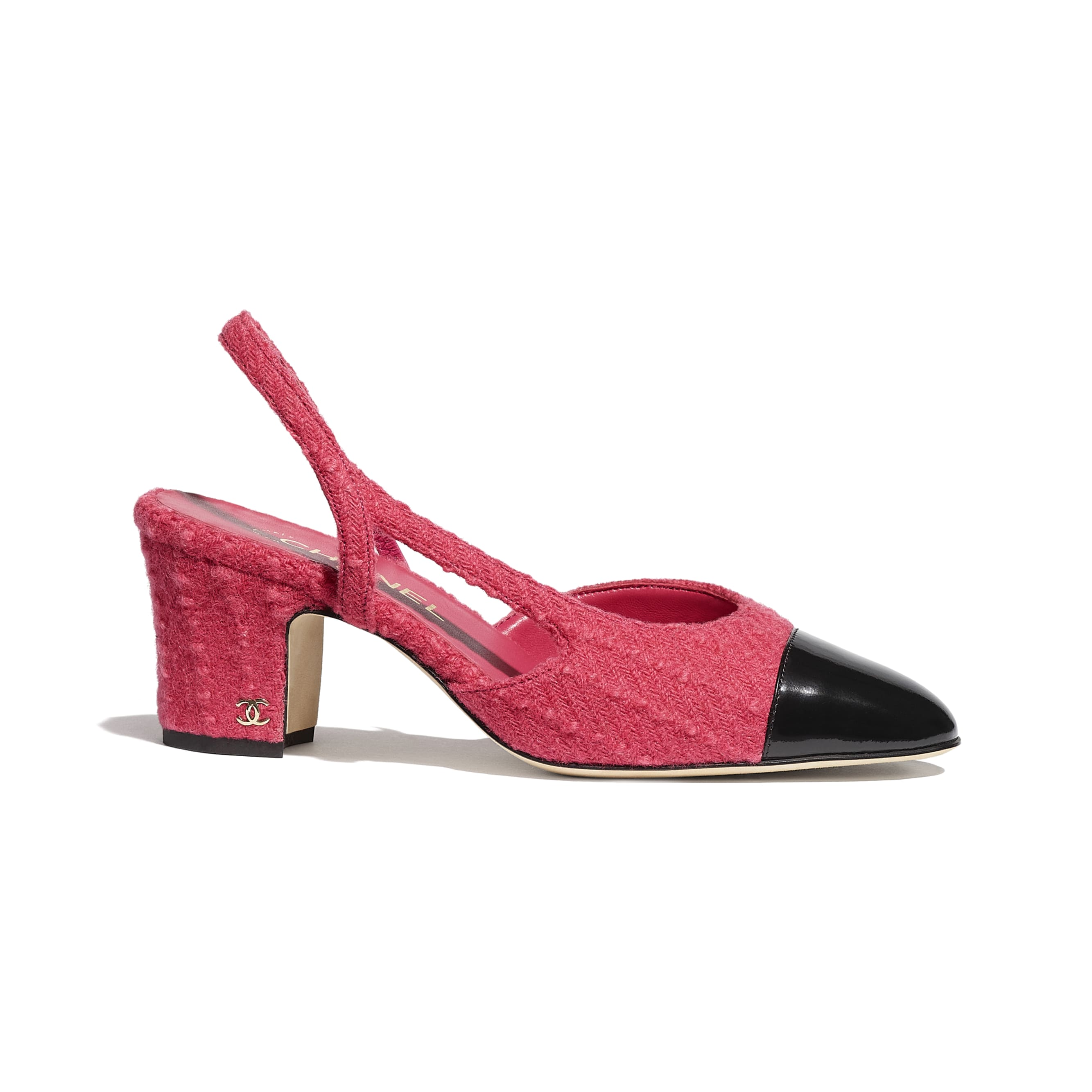 Sling-Back - Pink & Black - Tweed & Calfskin - CHANEL - Default view - see standard sized version