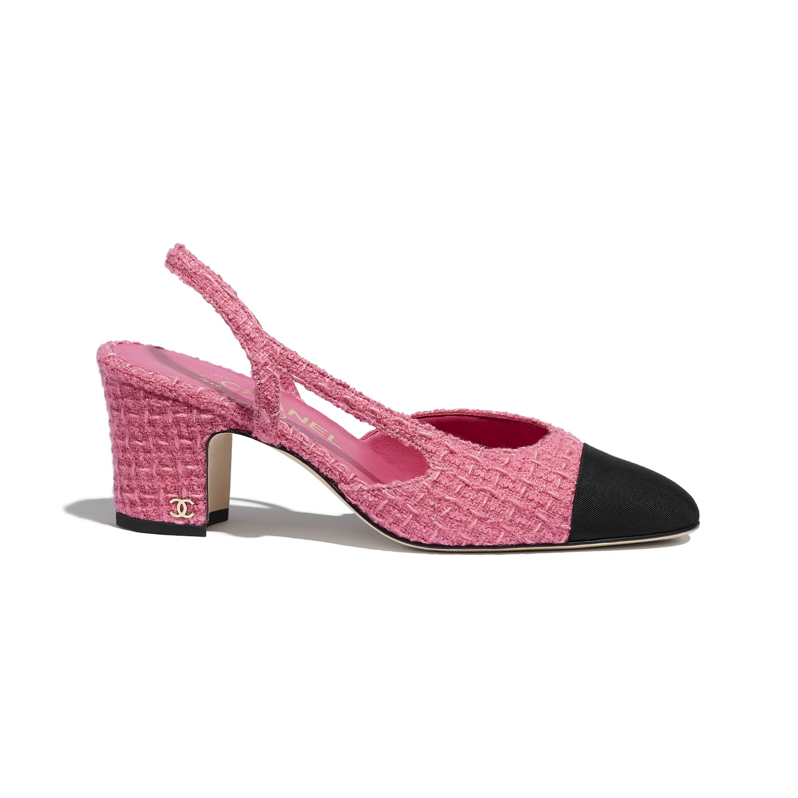 Sling-Back - Pink & Black - Tweed & Grosgrain - CHANEL - Default view - see standard sized version