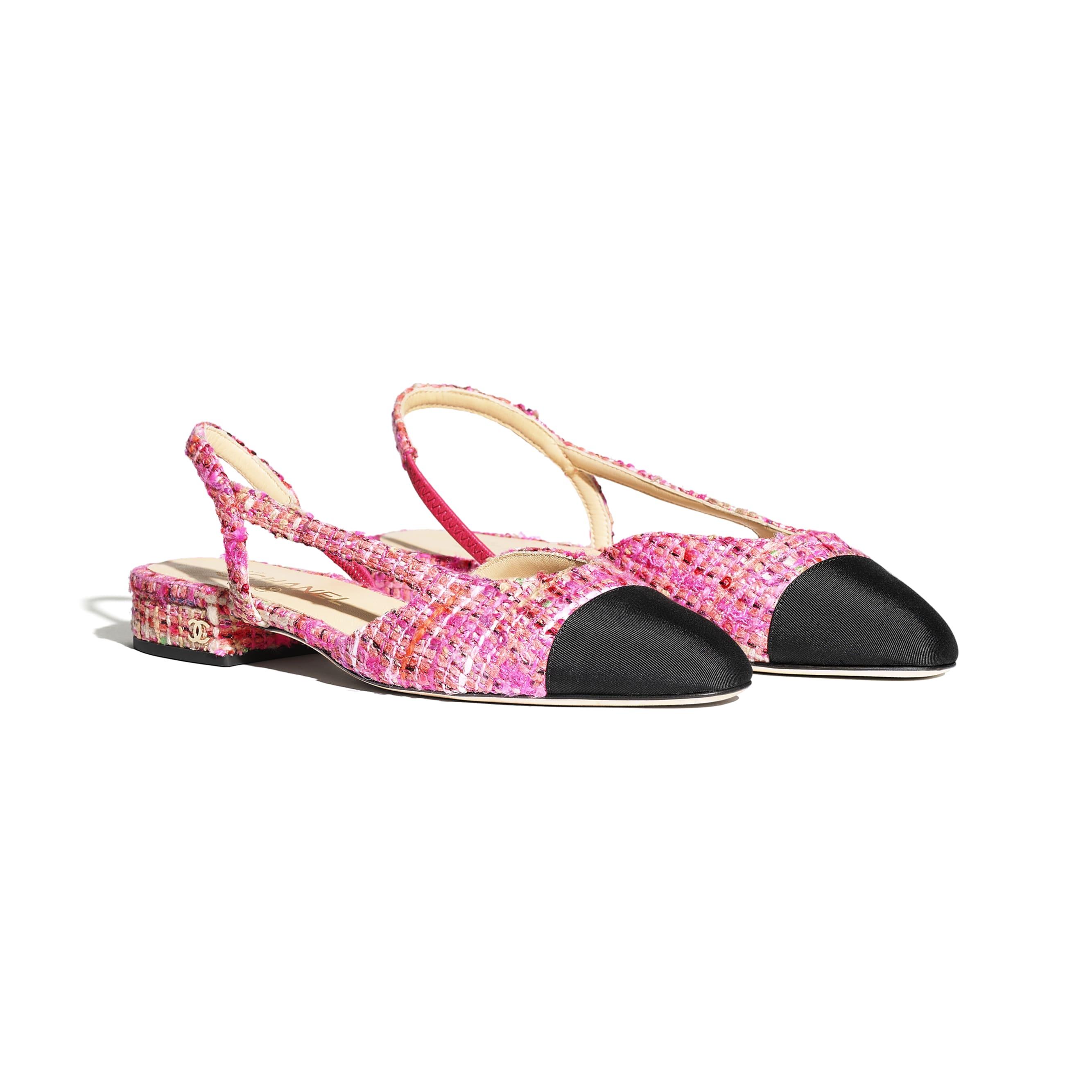 Sling-Back - Pink, Light Pink & Black - Tweed & Grosgrain - CHANEL - Alternative view - see standard sized version