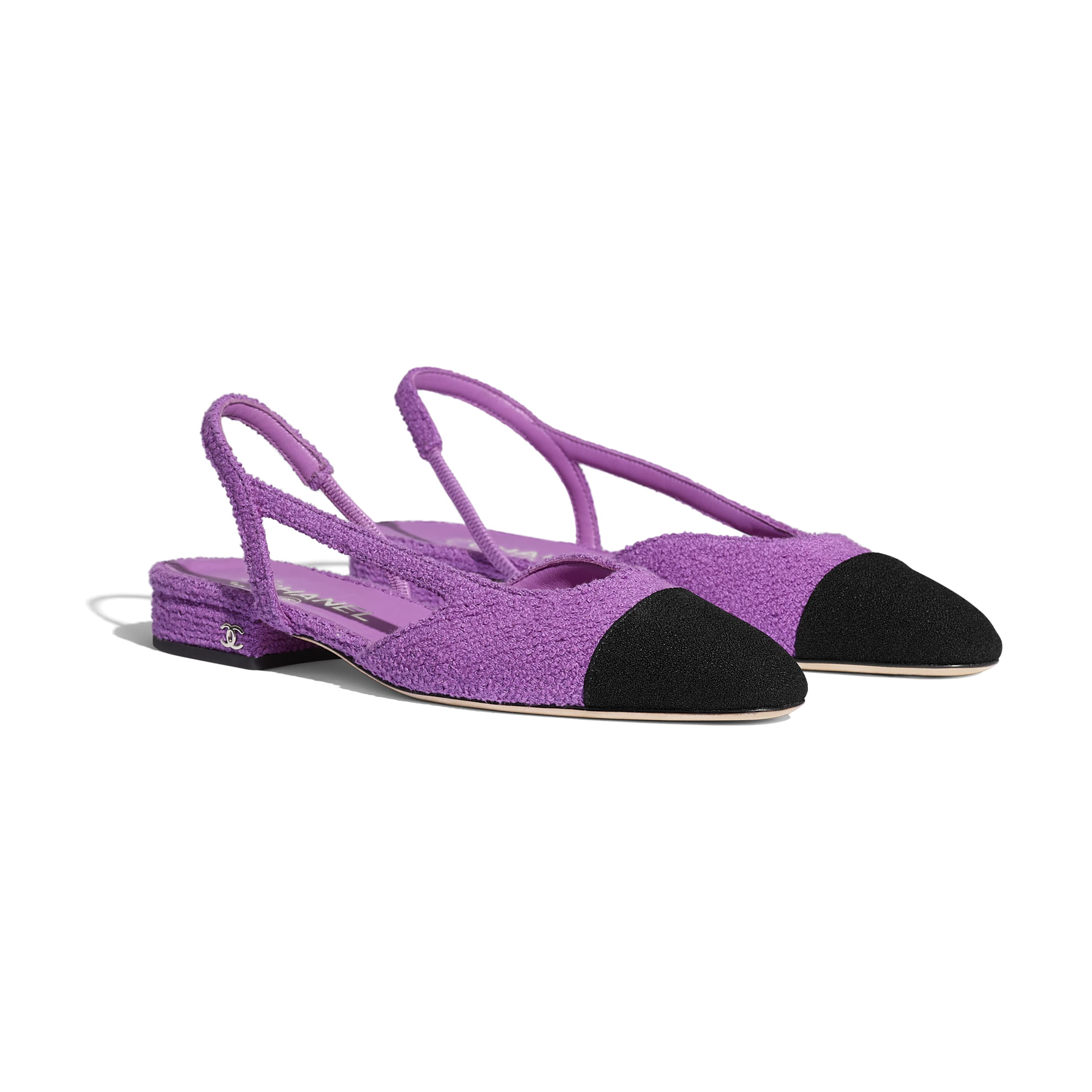 Slingbacks - Purple & Black - Cotton Tweed - CHANEL - Alternative view - see standard sized version