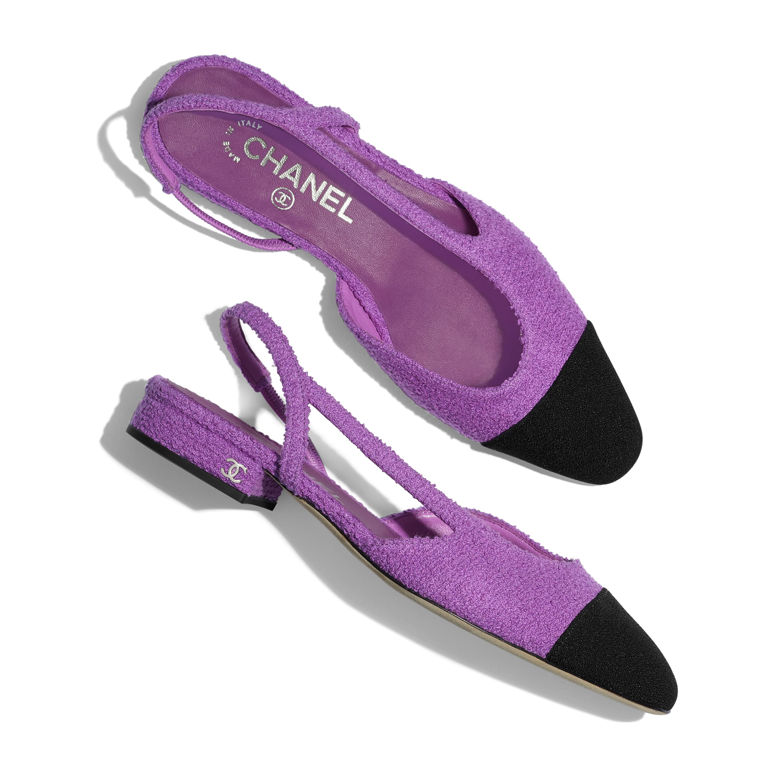 Slingbacks - Purple & Black - Cotton Tweed - CHANEL - Extra view - see standard sized version