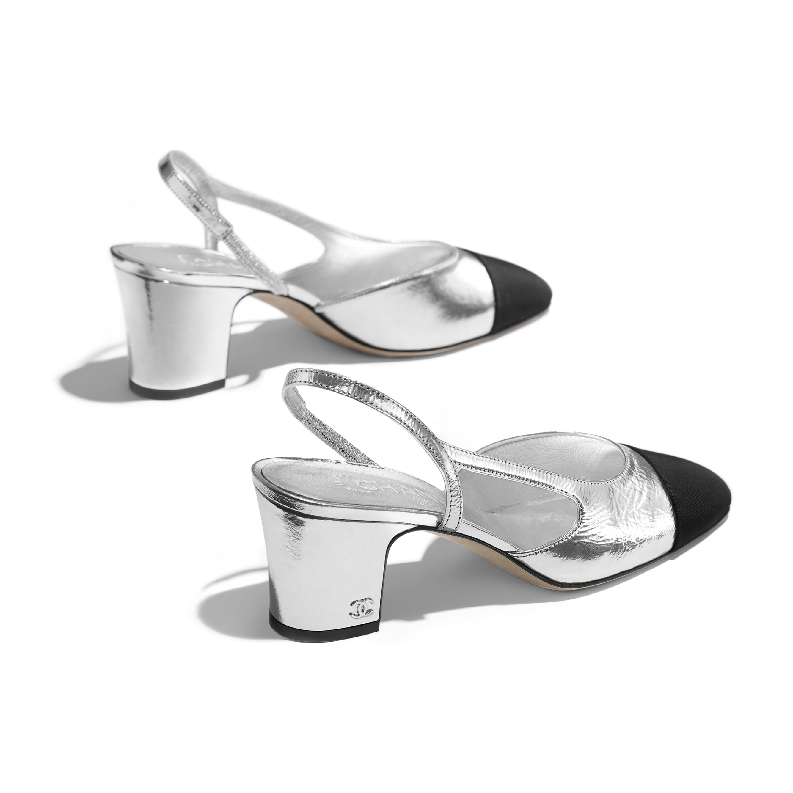 Slingbacks - Silver & Black - Metallic Goatskin & Grosgrain - Other view - see standard sized version