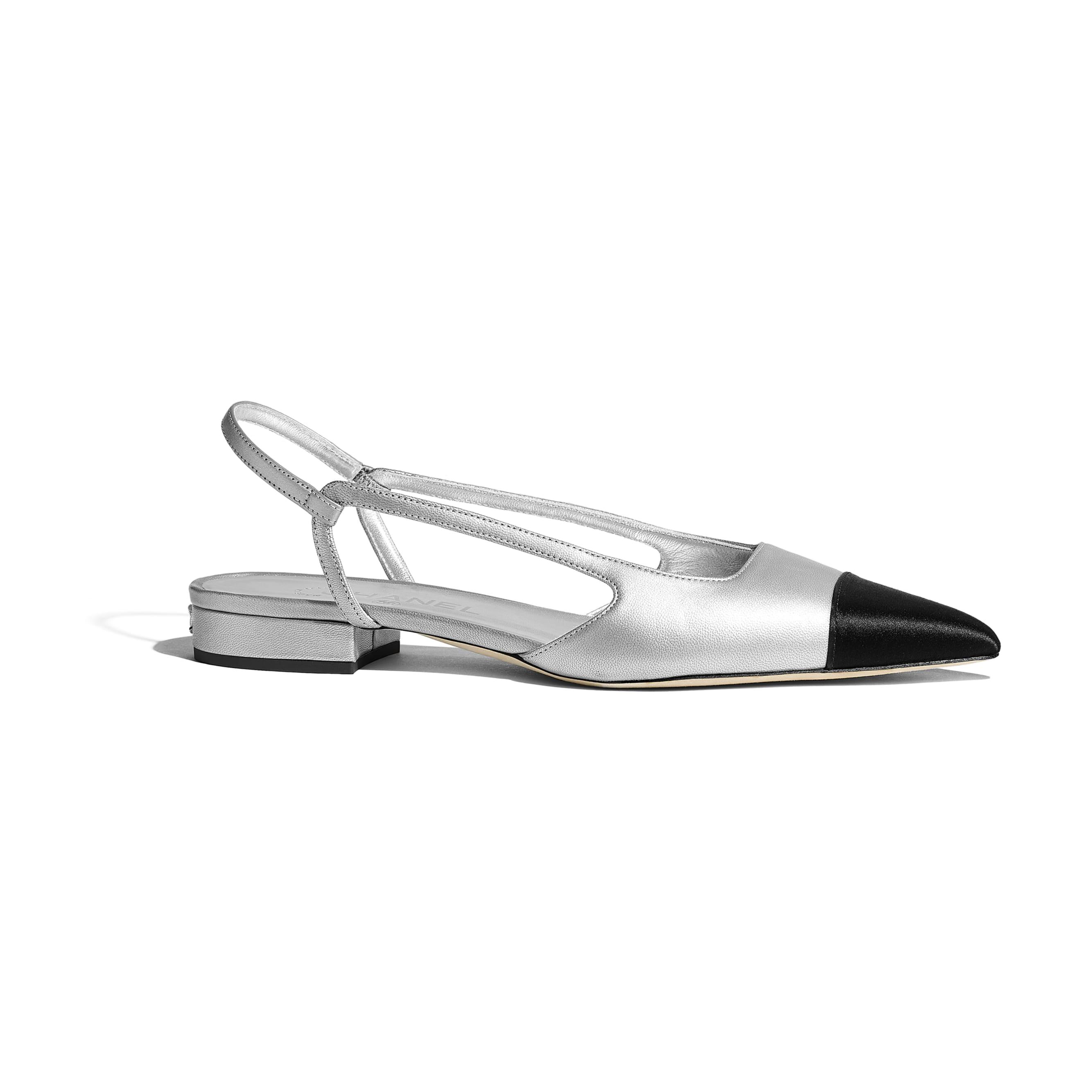 Sling-Back - Silver & Black - Metallic Lambskin & Satin - CHANEL - Default view - see standard sized version