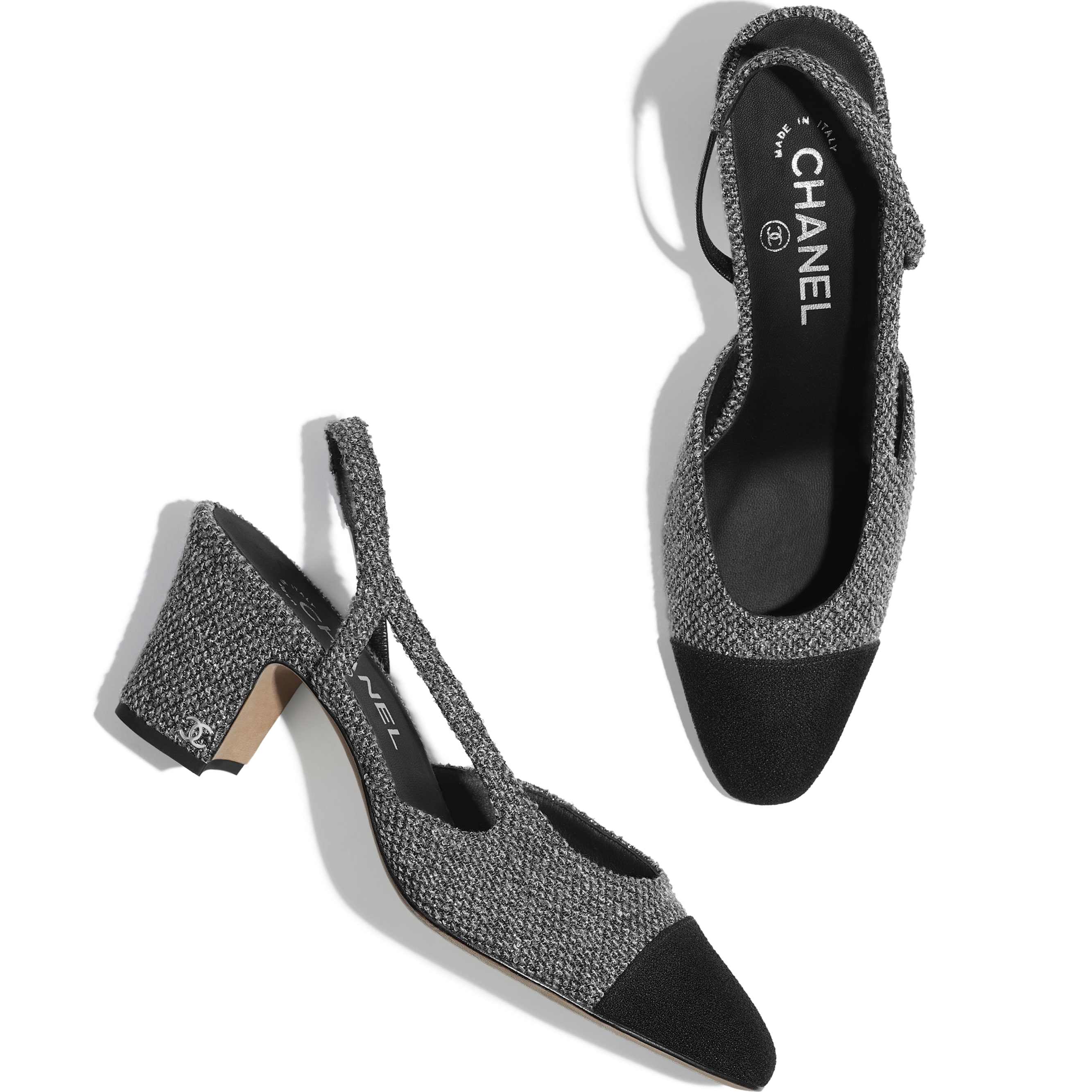 Slingbacks - Silver & Black - Tweed - CHANEL - Extra view - see standard sized version