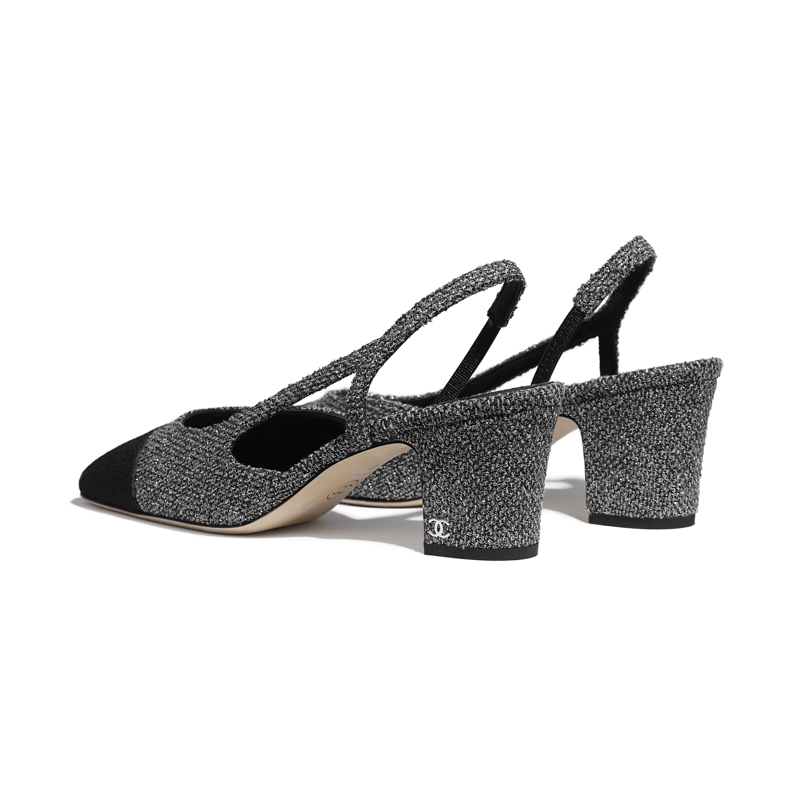 Slingbacks - Silver & Black - Tweed - CHANEL - Other view - see standard sized version