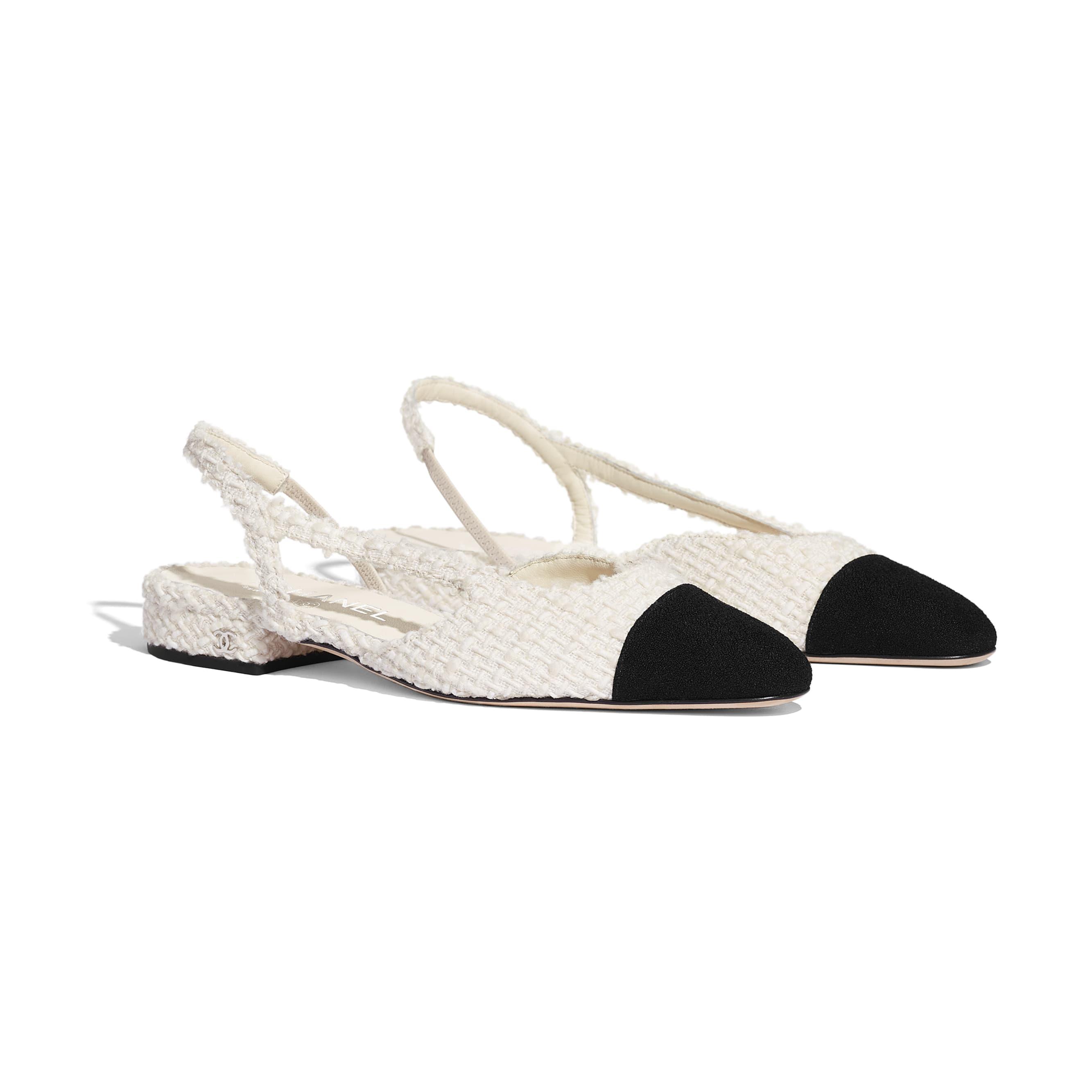รองเท้าแบบมีสายรัดด้านหลัง - สีขาวและสีดำ - ผ้าวูลทวีต - มุมมองทางอื่น - ดูเวอร์ชันขนาดมาตรฐาน