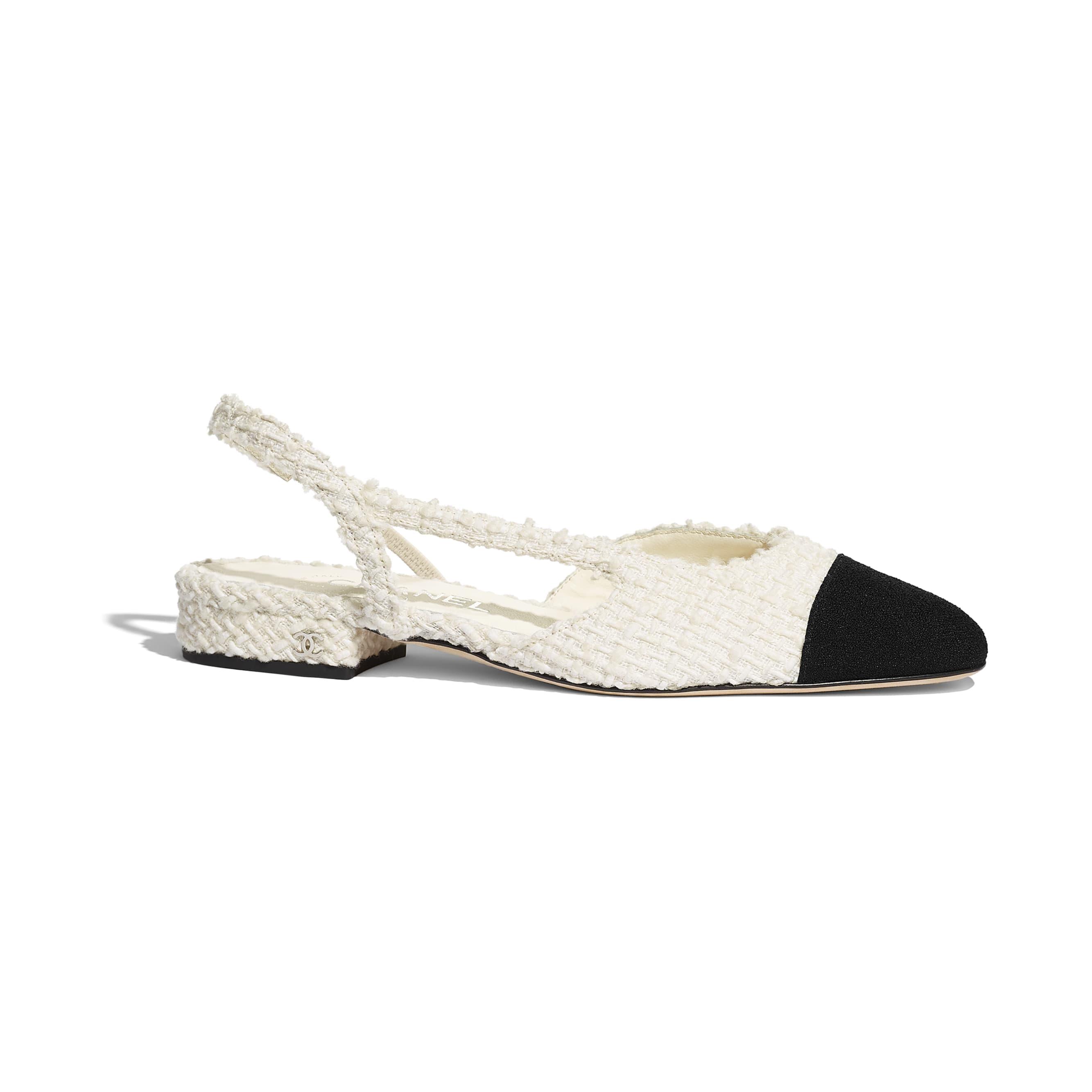 รองเท้าแบบมีสายรัดด้านหลัง - สีขาวและสีดำ - ผ้าวูลทวีต - มุมมองปัจจุบัน - ดูเวอร์ชันขนาดมาตรฐาน
