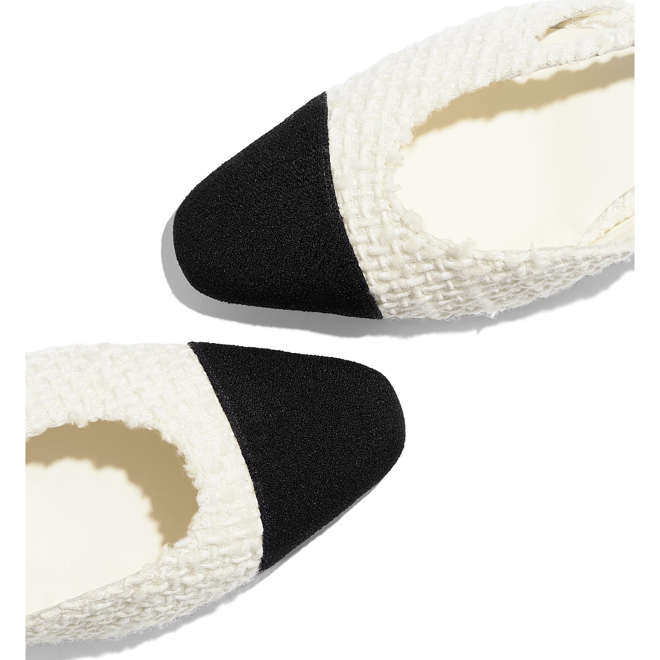 รองเท้าแบบมีสายรัดด้านหลัง - สีขาวและสีดำ - ผ้าวูลทวีต - มุมมองพิเศษ - ดูเวอร์ชันขนาดมาตรฐาน