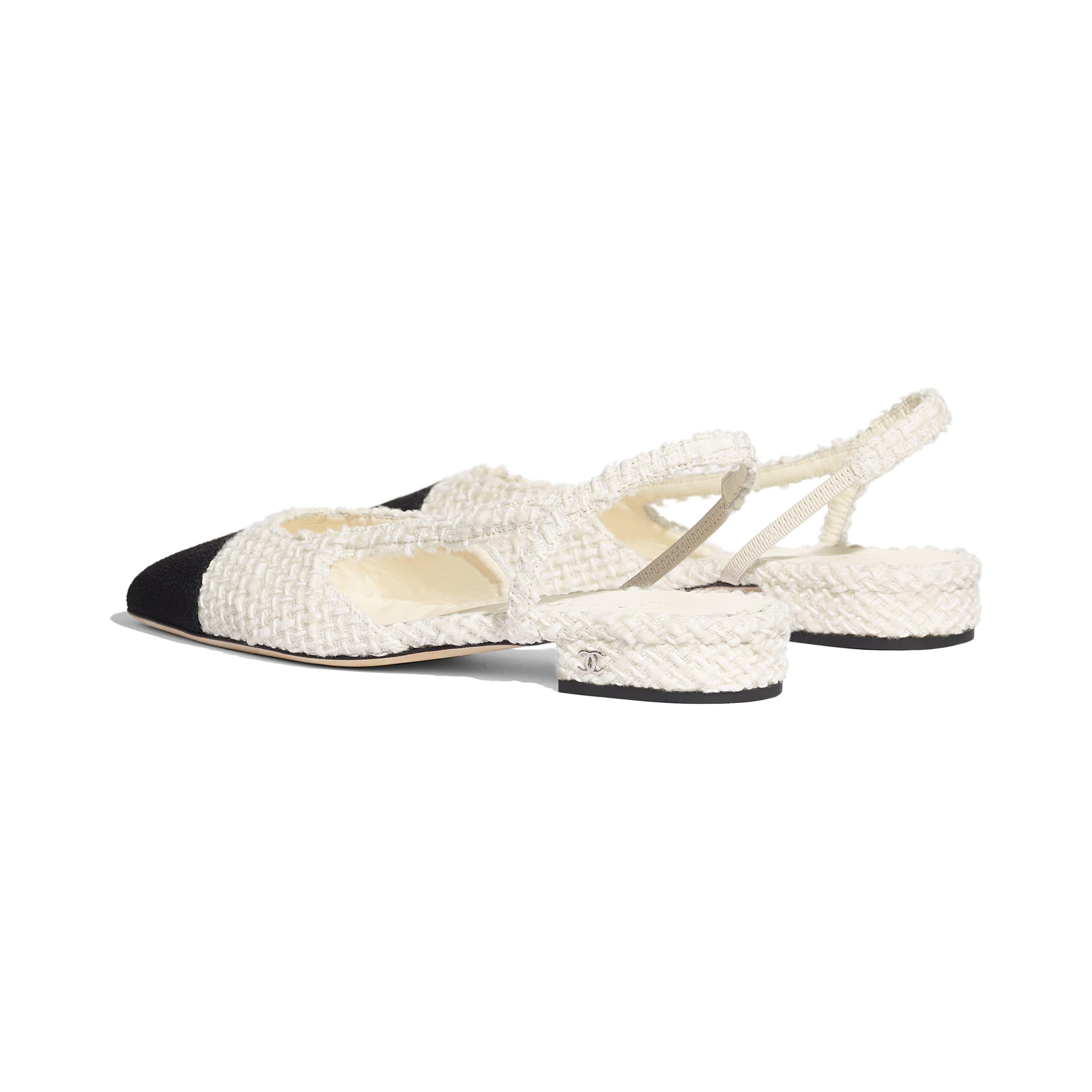 รองเท้าแบบมีสายรัดด้านหลัง - สีขาวและสีดำ - ผ้าวูลทวีต - มุมมองอื่น - ดูเวอร์ชันขนาดมาตรฐาน