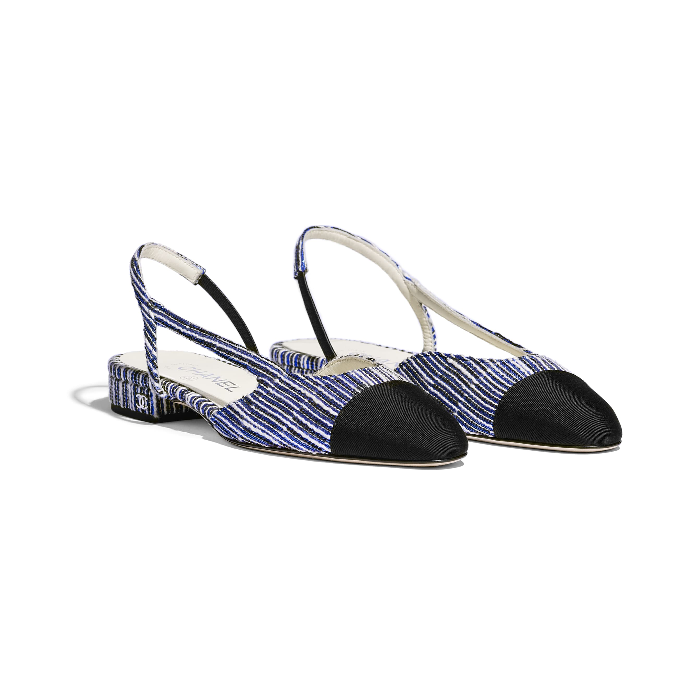 Slingbacks - White, Blue, Silver & Black - Tweed & Grosgrain - Alternative view - see standard sized version