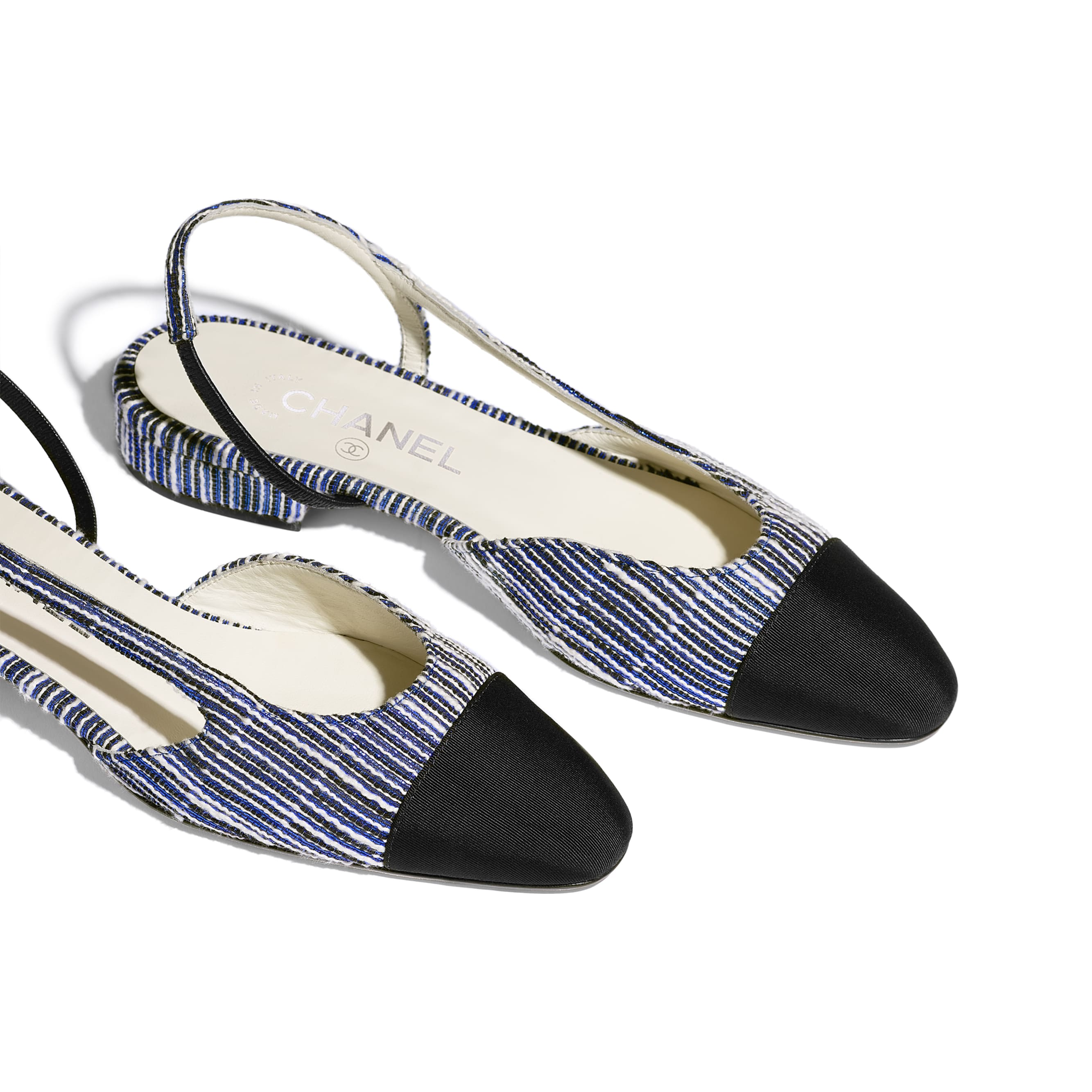 Slingbacks - White, Blue, Silver & Black - Tweed & Grosgrain - Other view - see standard sized version