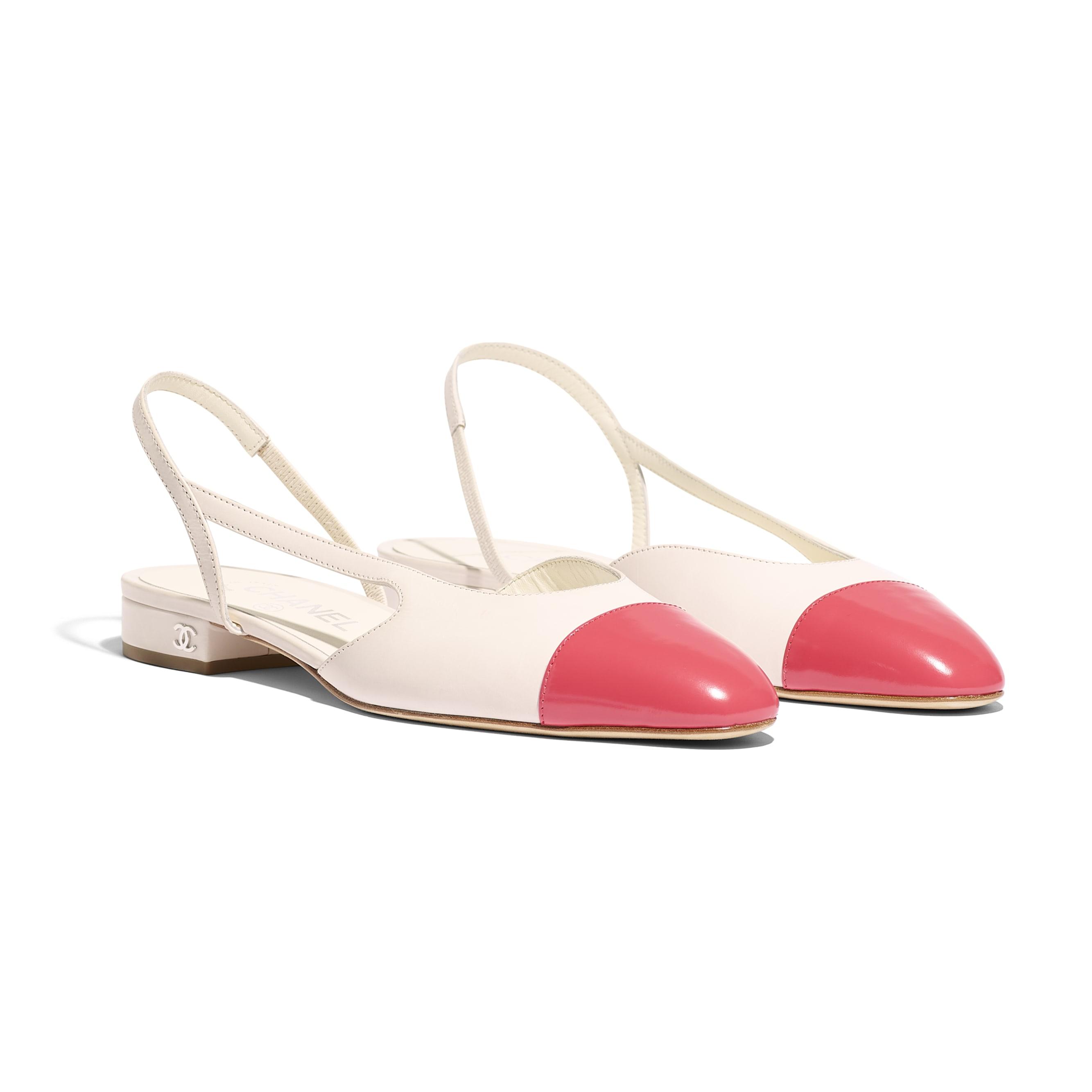 Slingbacks - White & Red - Calfskin & Glazed Calfskin - Alternative view - see standard sized version