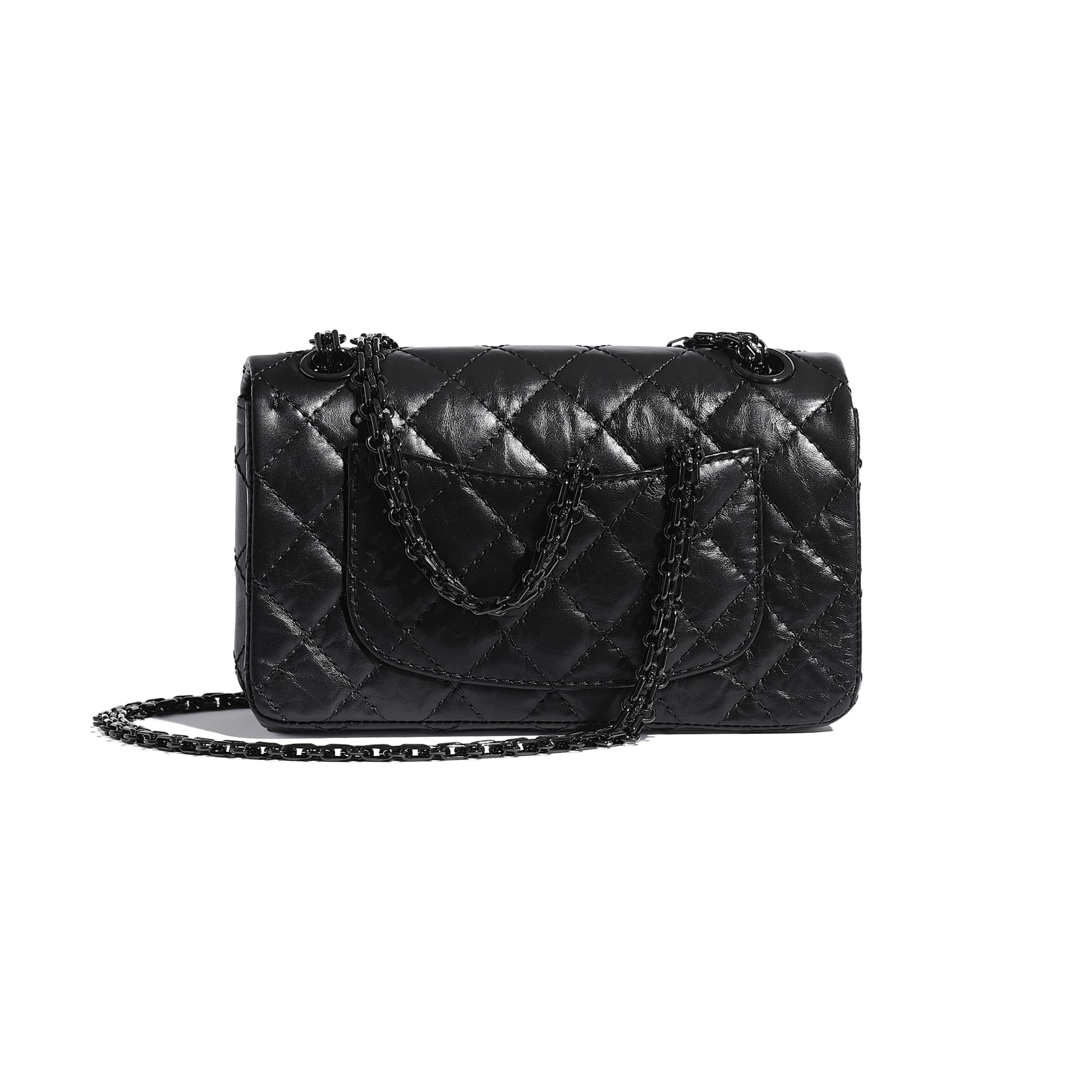 Small 2.55 Handbag - Black - Aged Calfskin & Black Metal - CHANEL - Alternative view - see standard sized version