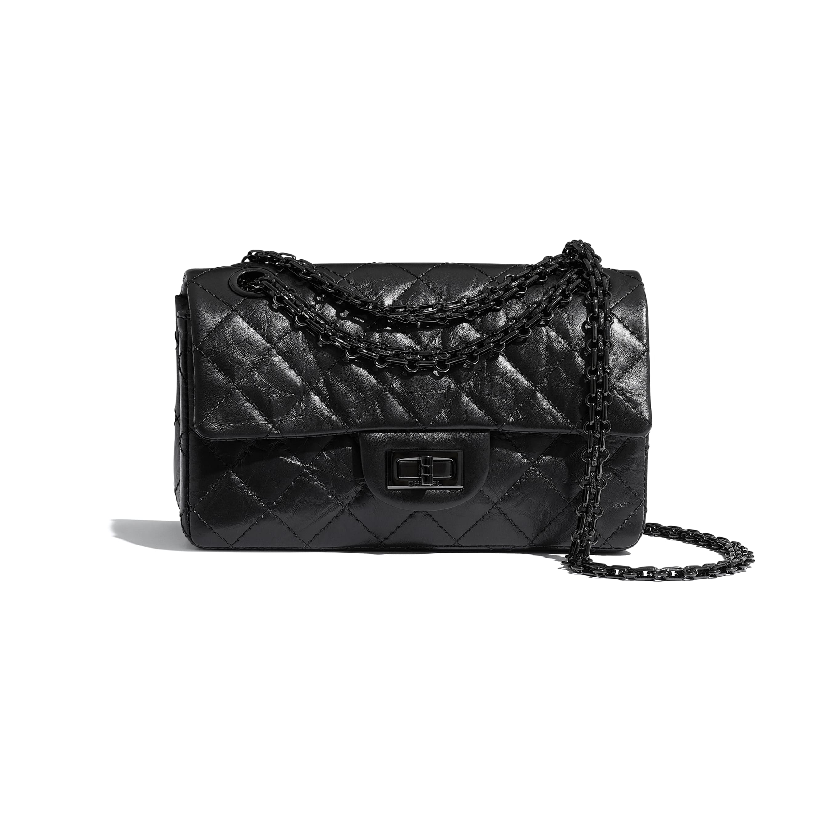 Small 2.55 Handbag - Black - Aged Calfskin & Black Metal - CHANEL - Default view - see standard sized version