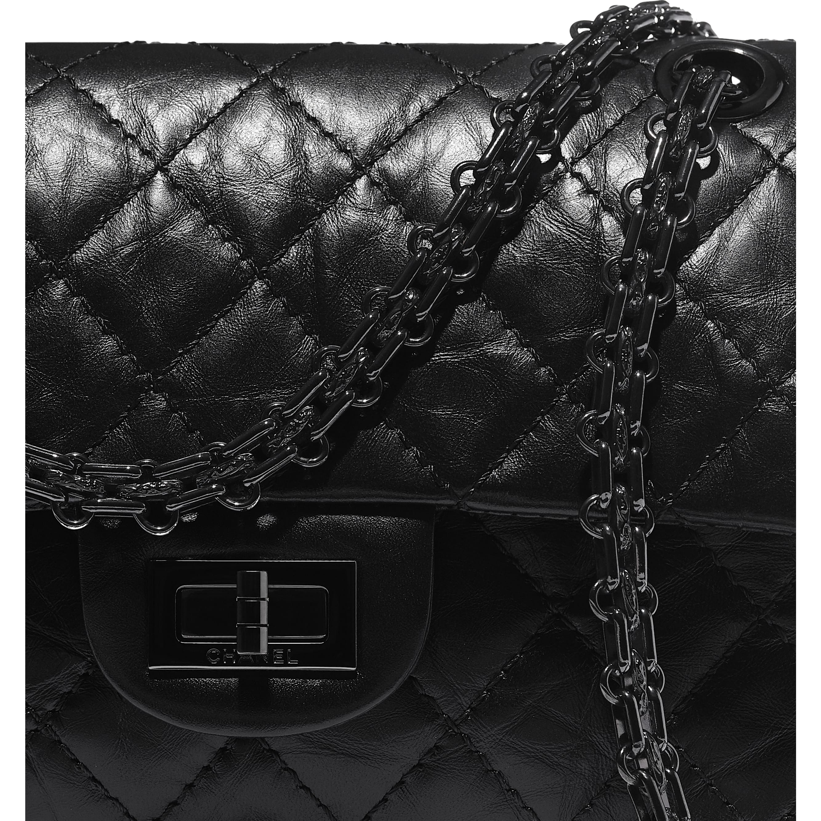Small 2.55 Handbag - Black - Aged Calfskin & Black Metal - CHANEL - Extra view - see standard sized version
