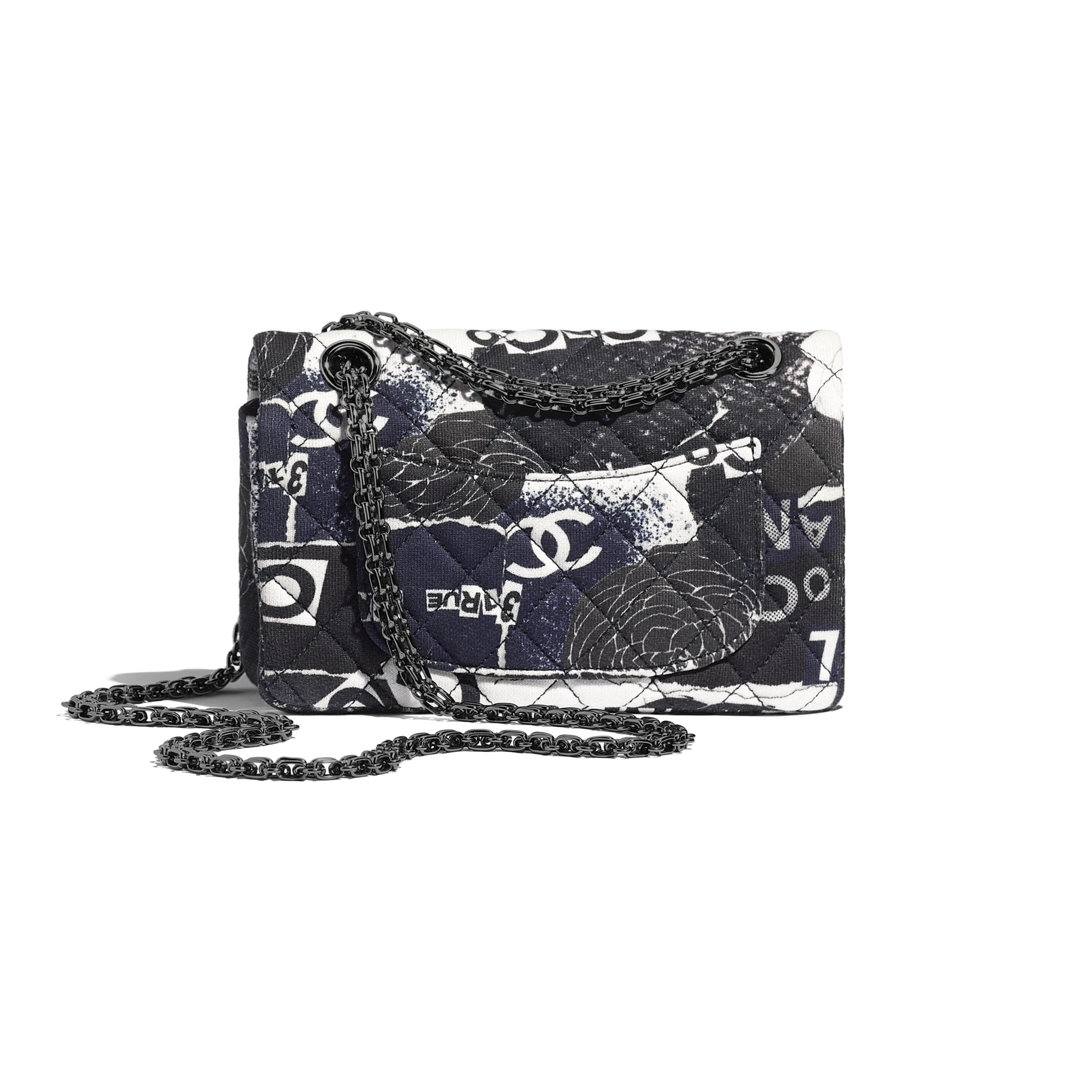 Small 2.55 Handbag - Black & White - Printed Cotton & Ruthenium-Finish Metal - CHANEL - Alternative view - see standard sized version