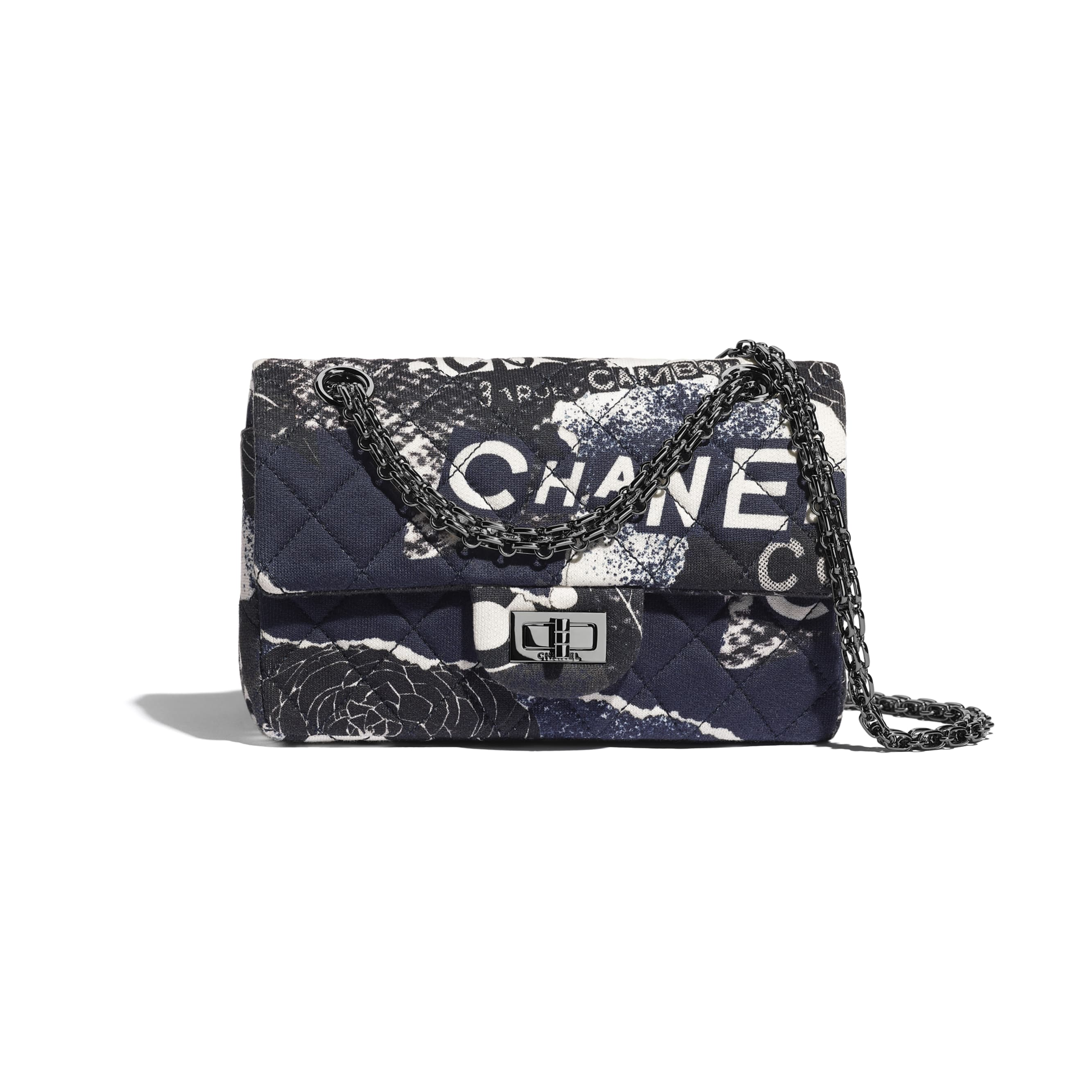Small 2.55 Handbag - Black & White - Printed Cotton & Ruthenium-Finish Metal - CHANEL - Default view - see standard sized version