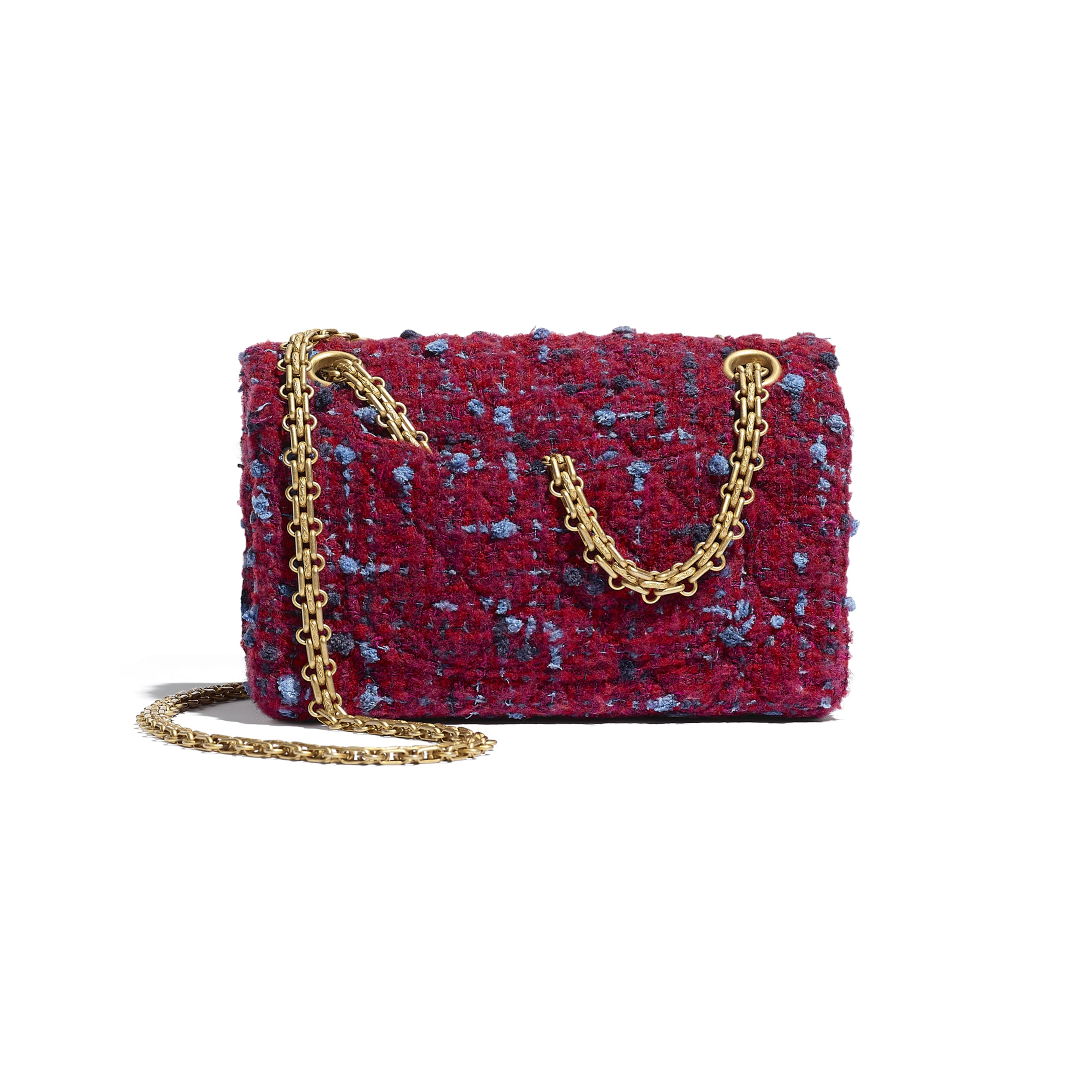 Small 2.55 Handbag - Burgundy, Blue & Grey - Tweed & Gold Metal - CHANEL - Alternative view - see standard sized version