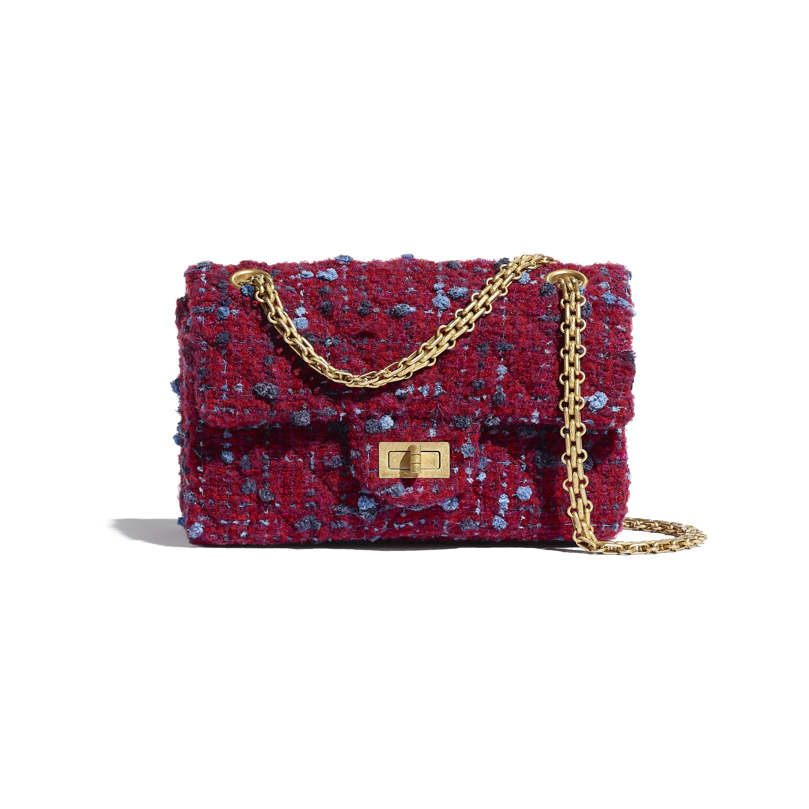 Small 2.55 Handbag - Burgundy, Blue & Grey - Tweed & Gold Metal - CHANEL - Default view - see standard sized version