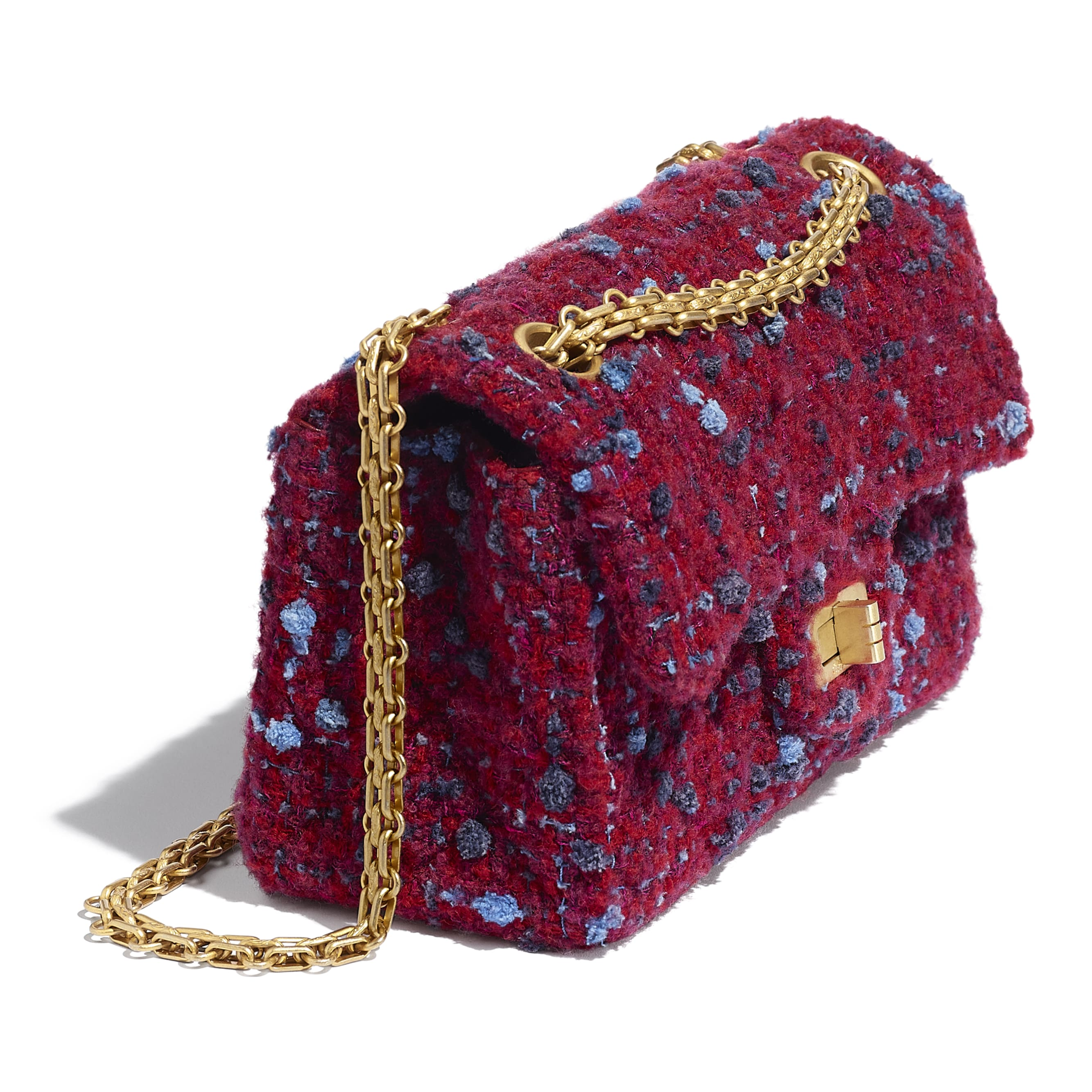 Small 2.55 Handbag - Burgundy, Blue & Grey - Tweed & Gold Metal - CHANEL - Extra view - see standard sized version