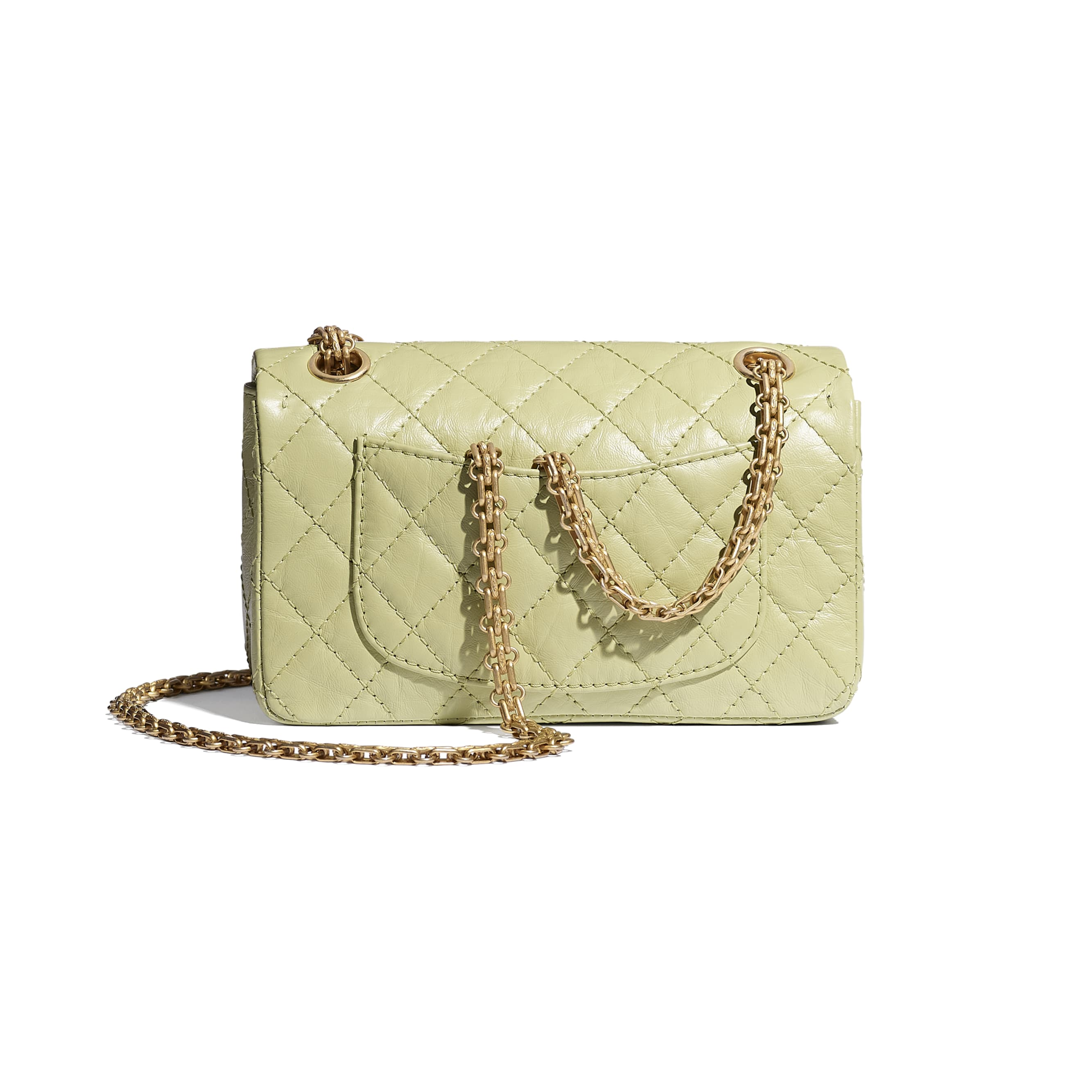 Small 2.55 Handbag - Green - Aged Calfskin & Gold-Tone Metal - CHANEL - Alternative view - see standard sized version