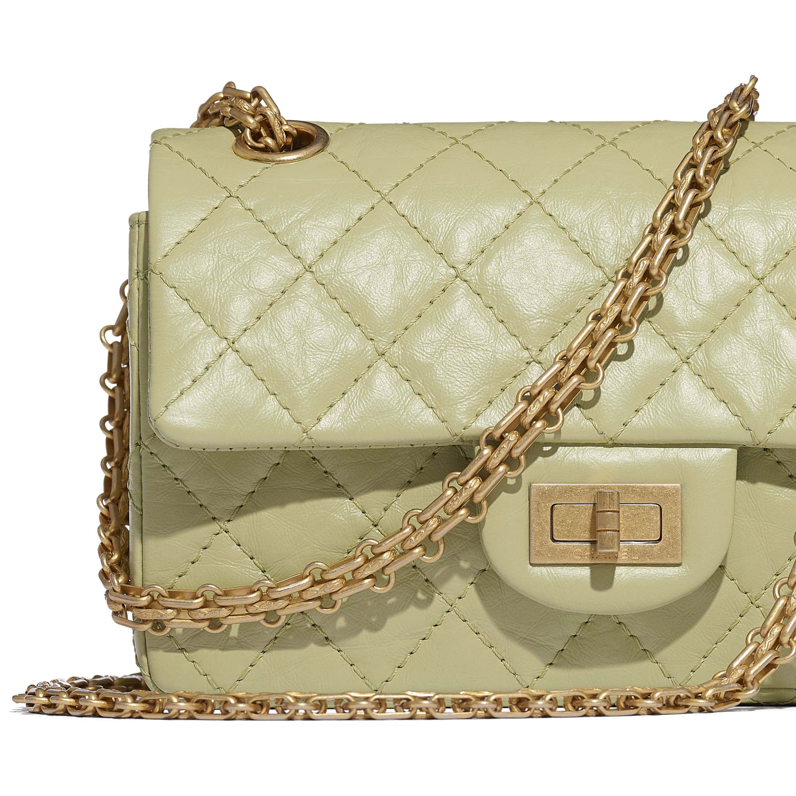 Small 2.55 Handbag - Green - Aged Calfskin & Gold-Tone Metal - CHANEL - Extra view - see standard sized version