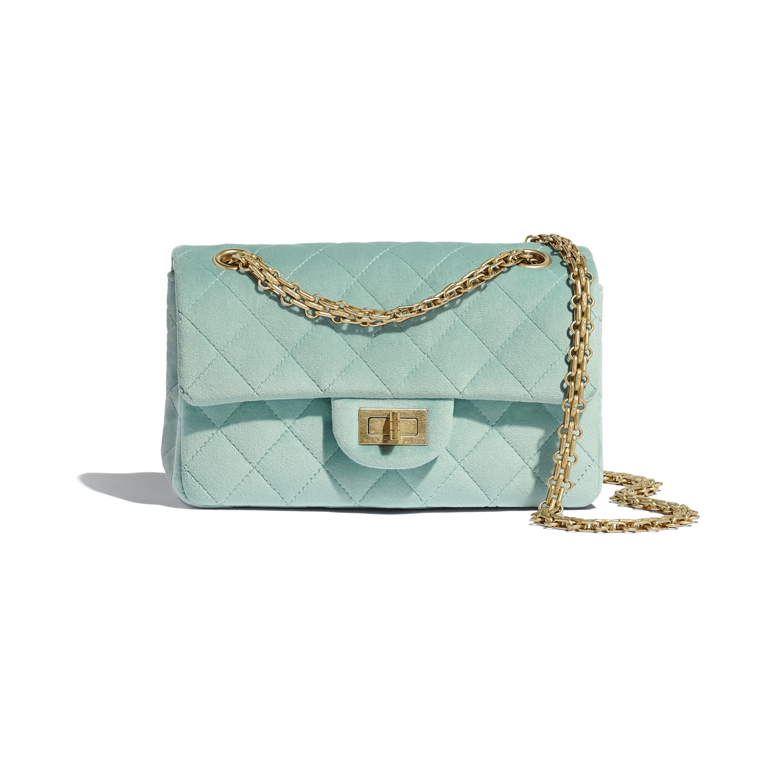 Small 2.55 Handbag - Light Blue - Velvet & Gold Metal - Default view - see standard sized version