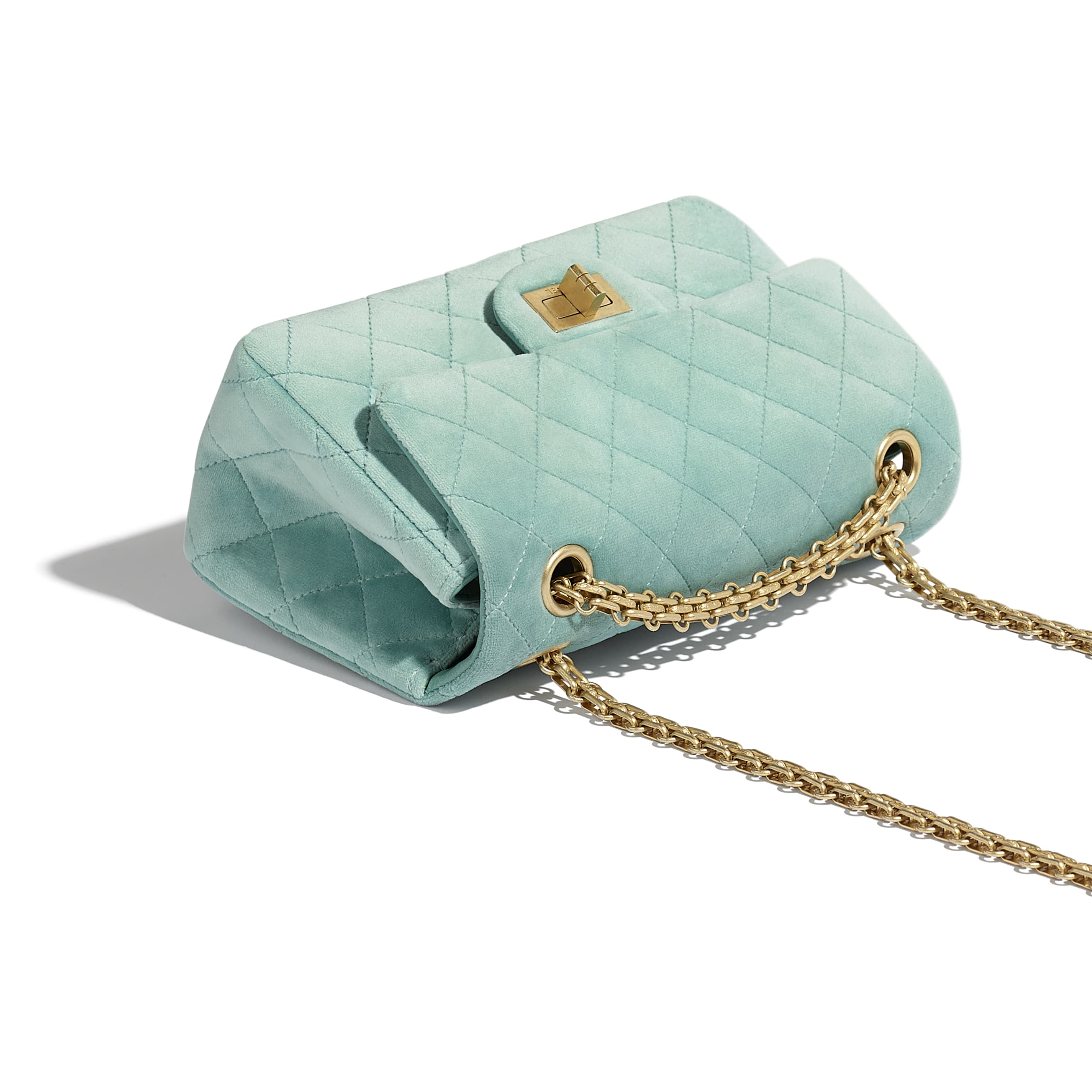 Small 2.55 Handbag - Light Blue - Velvet & Gold Metal - Extra view - see standard sized version