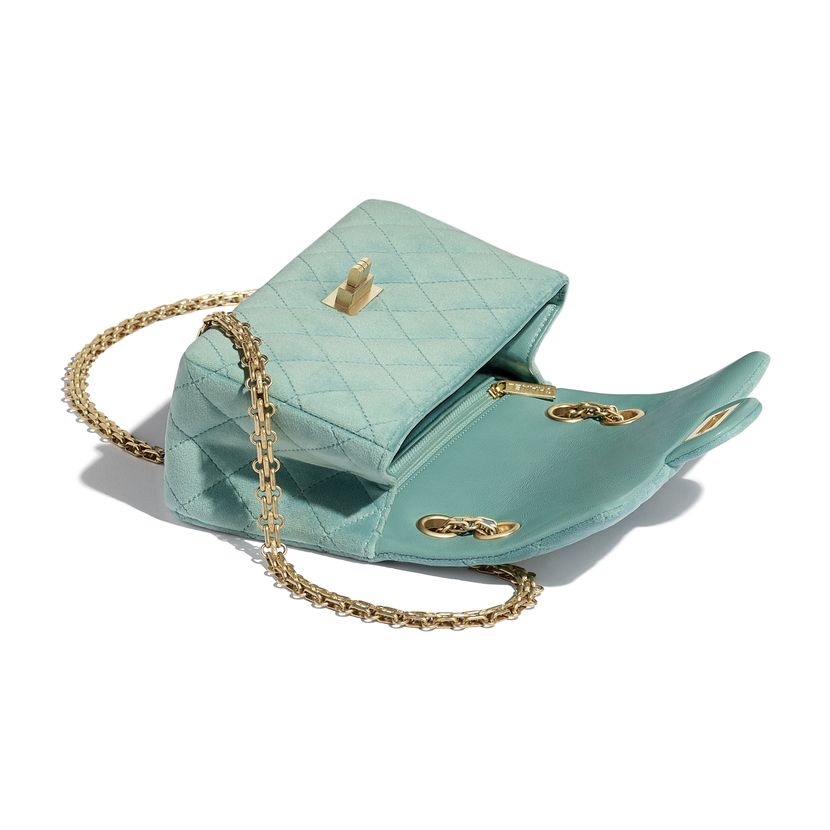 Small 2.55 Handbag - Light Blue - Velvet & Gold Metal - Other view - see standard sized version